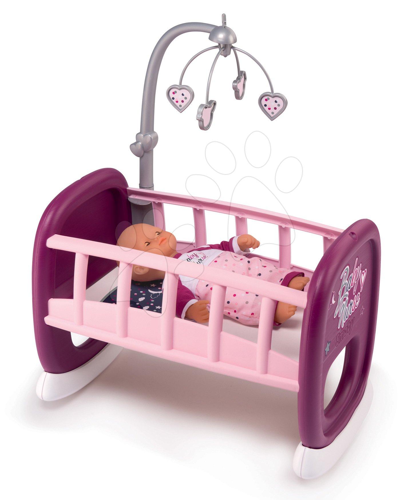 Kolébka s kolotočem Violette Baby Nurse Smoby pro panenky od 18 měsíců