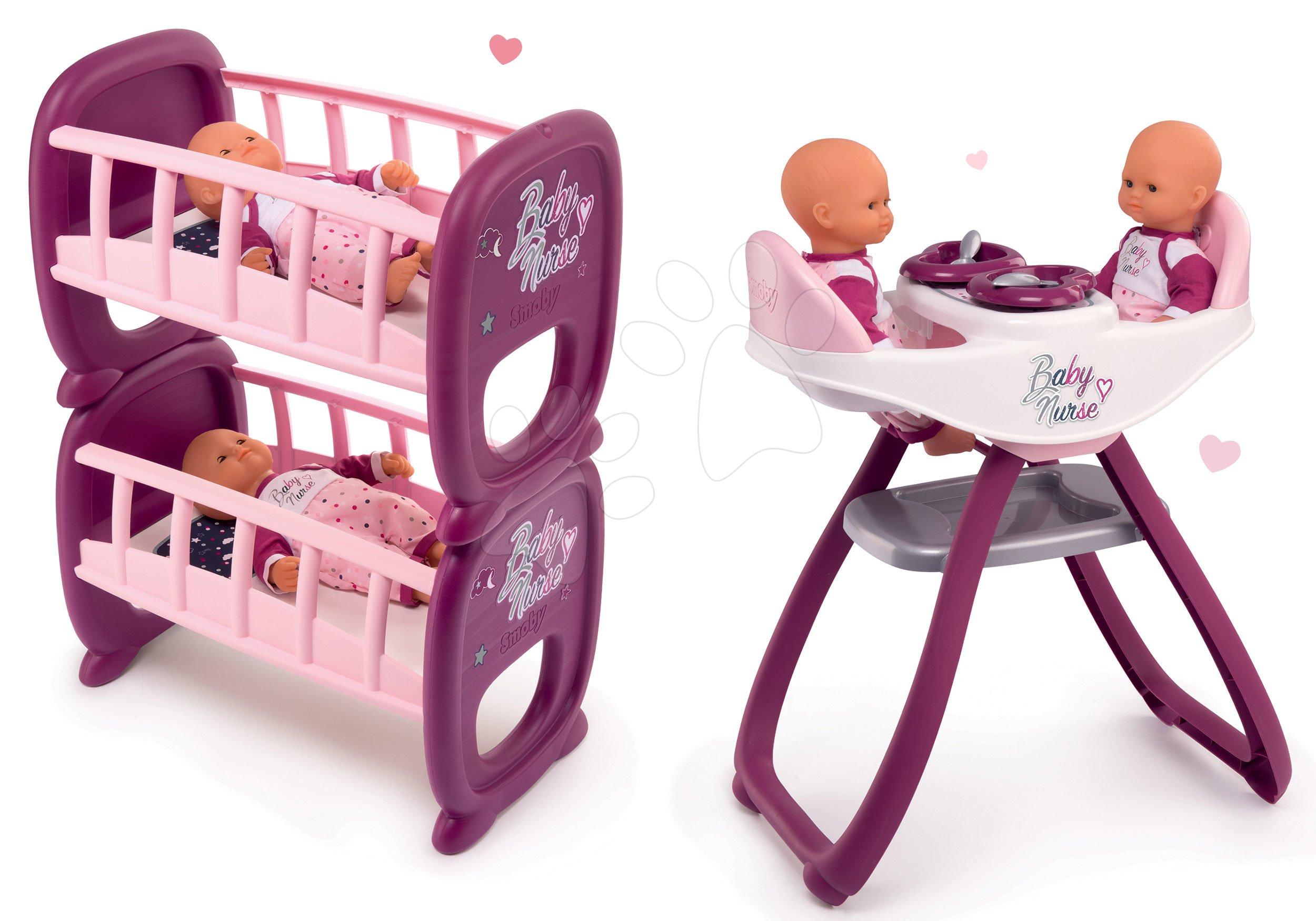 Set scaun de masă și leagăn pentru păpuși gemene Violette Baby Nurse Smoby și pătuț etajat
