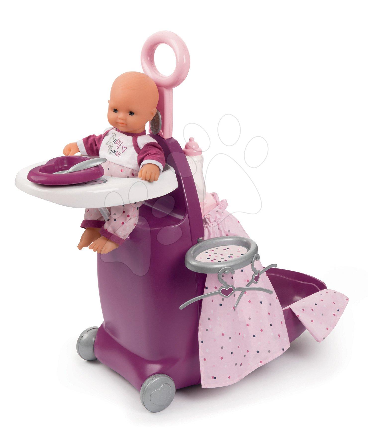 Přebalovací kufřík s postýlkou a židličkou Violette Baby Nurse Smoby pro panenky se 6 doplňky od 18 měsíců