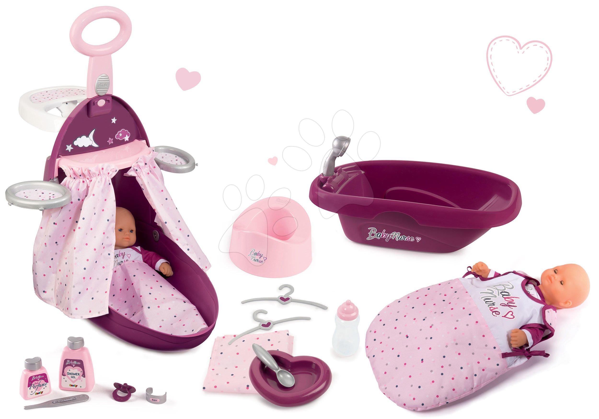 Set přebalovací kufřík s postýlkou a židličkou Violette Baby Nurse Smoby a s vaničkou a nočním úborem