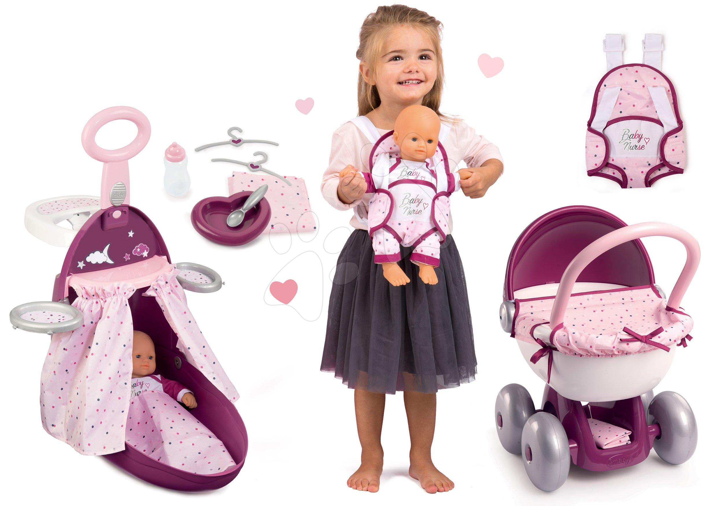 Set prebaľovací kufrík s postieľkou a stoličkou Violette Baby Nurse Smoby a bábika s nosičom a kočíkom