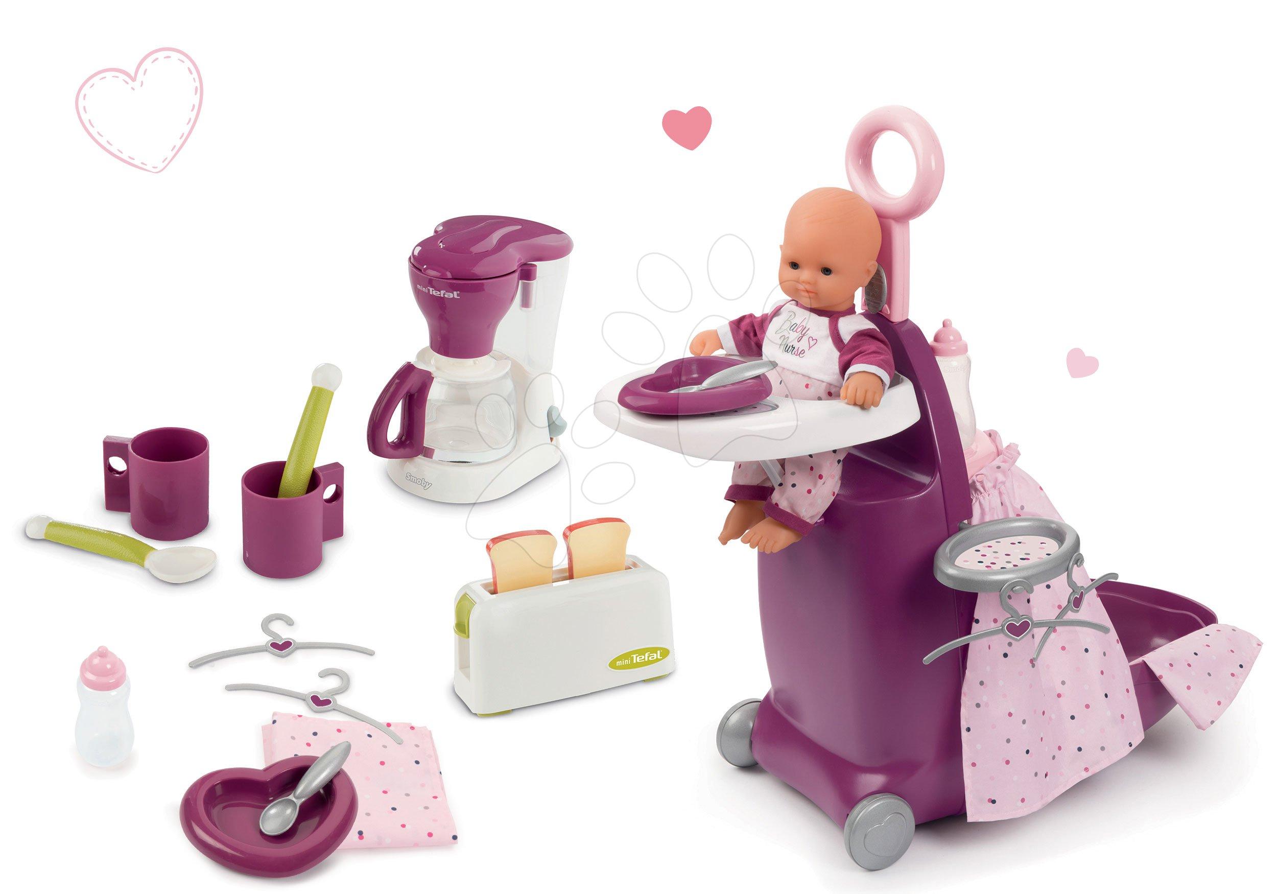 Set prebaľovací kufrík s postieľkou a stoličkou Violette Baby Nurse Smoby a raňajky s kávovarom a toasterom Mini Tefal
