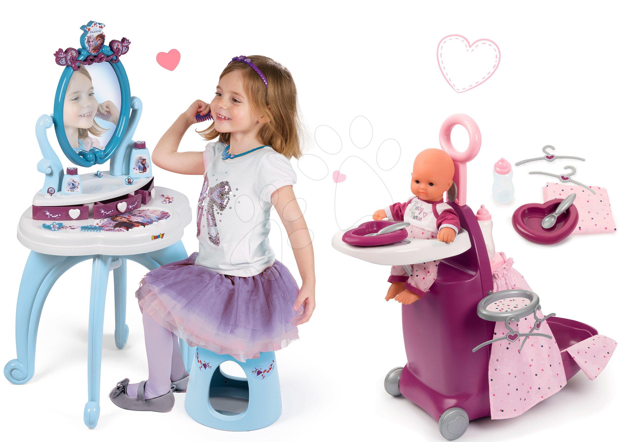 Set prebaľovací kufrík s postieľkou a stoličkou Violette Baby Nurse Smoby a kozmetický stolík Princezné so stoličkou