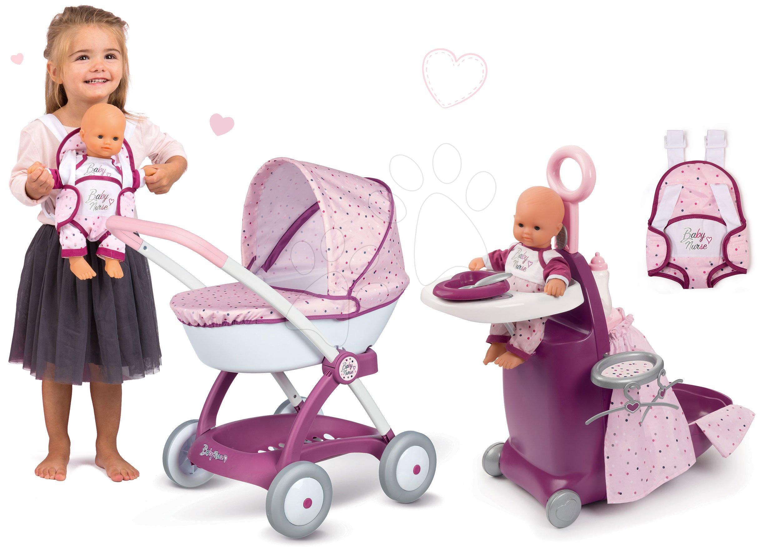 Set prebaľovací kufrík s postieľkou a stoličkou Violette Baby Nurse Smoby a hlboký kočík s nosičom pre bábiky