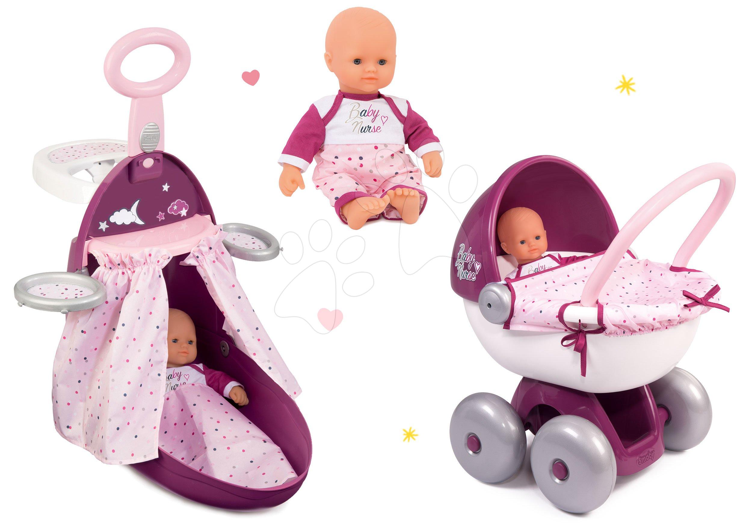 Set přebalovací vozík Baby Nurse Zlatá edice Smoby s postýlkou, panenka 32 cm a hluboký kočárek od 18 měsíců