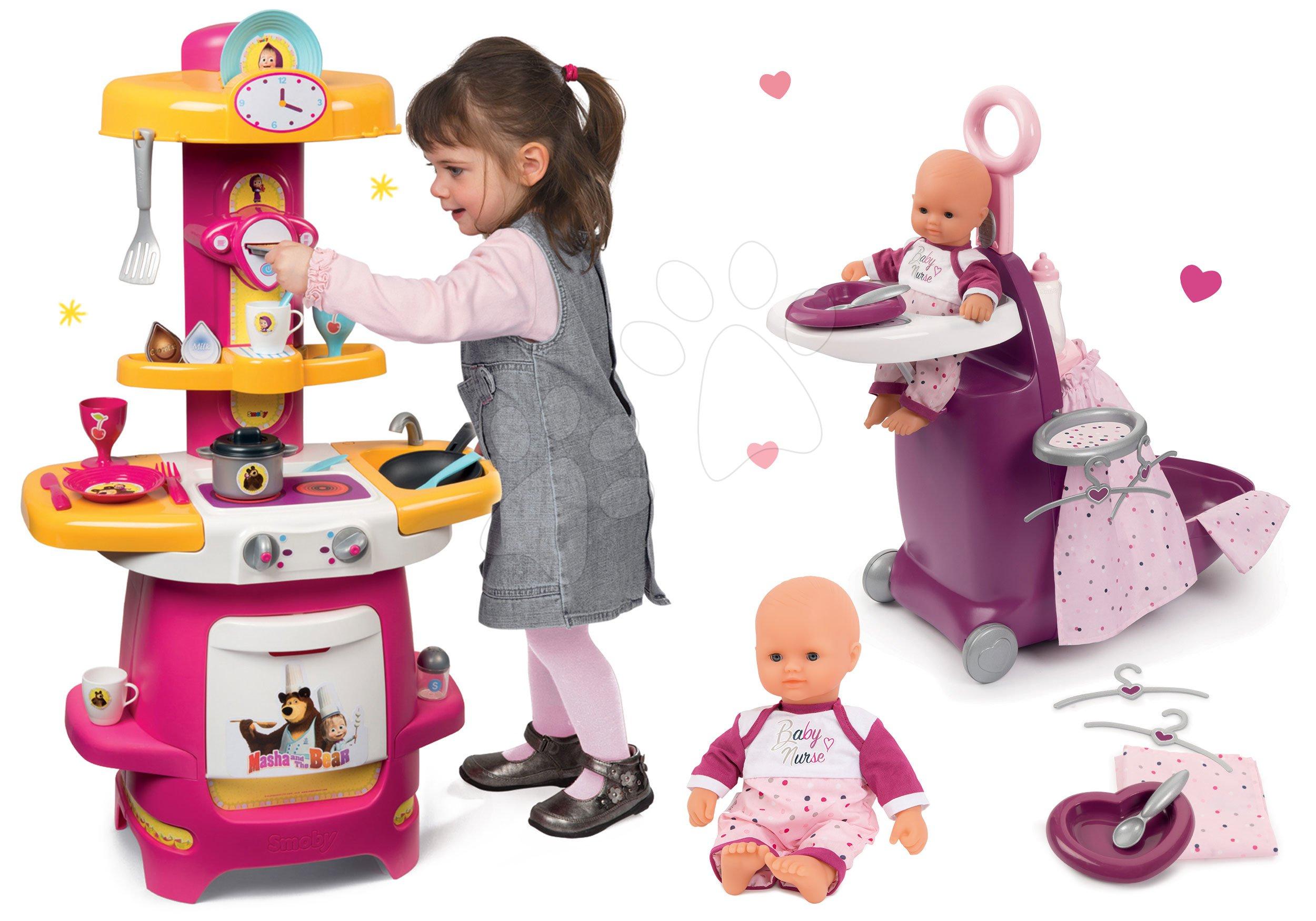Set přebalovací vozík Baby Nurse Zlatá edice Smoby s postýlkou, panenka 32 cm, kuchyňka Máša a medvěd od 18 měsíců
