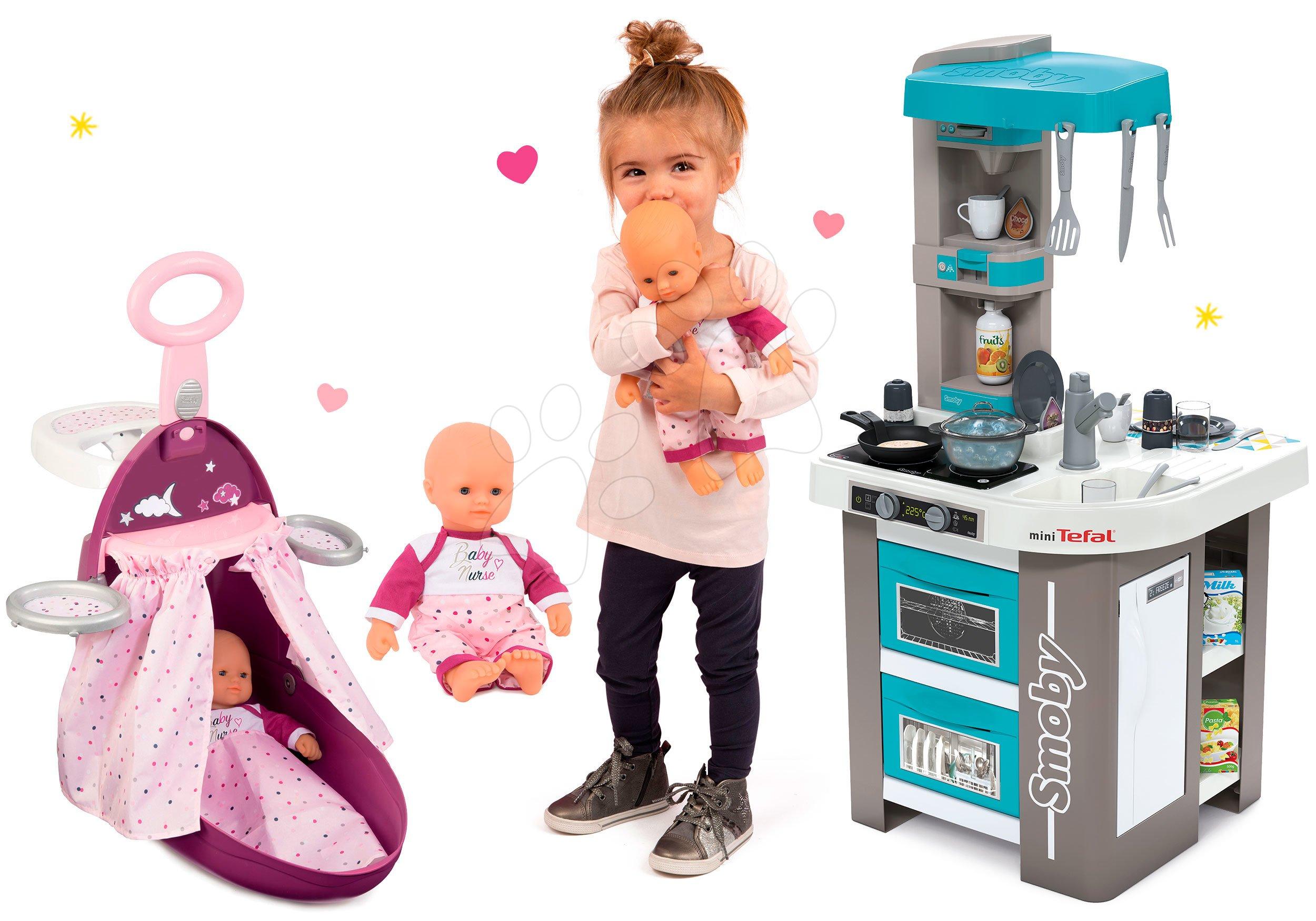 Smoby set prebaľovací vozík Baby Nurse Zlatá edícia, bábika a kuchynka Tefal Studio BBQ 220316-4