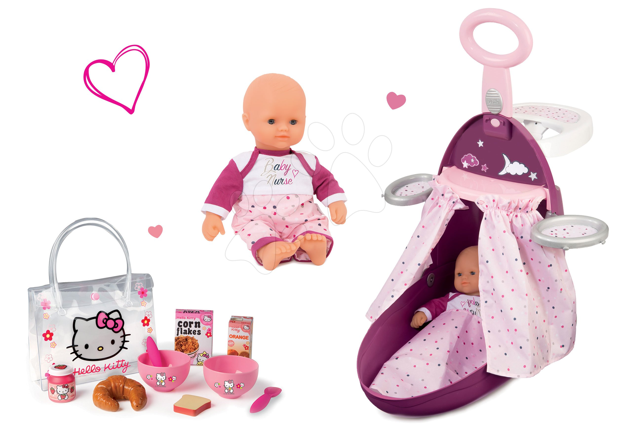 Set přebalovací vozík Baby Nurse Zlatá edice Smoby s postýlkou, panenka 32 cm, snídaňová sada Hello Kitty od 18 měsíců