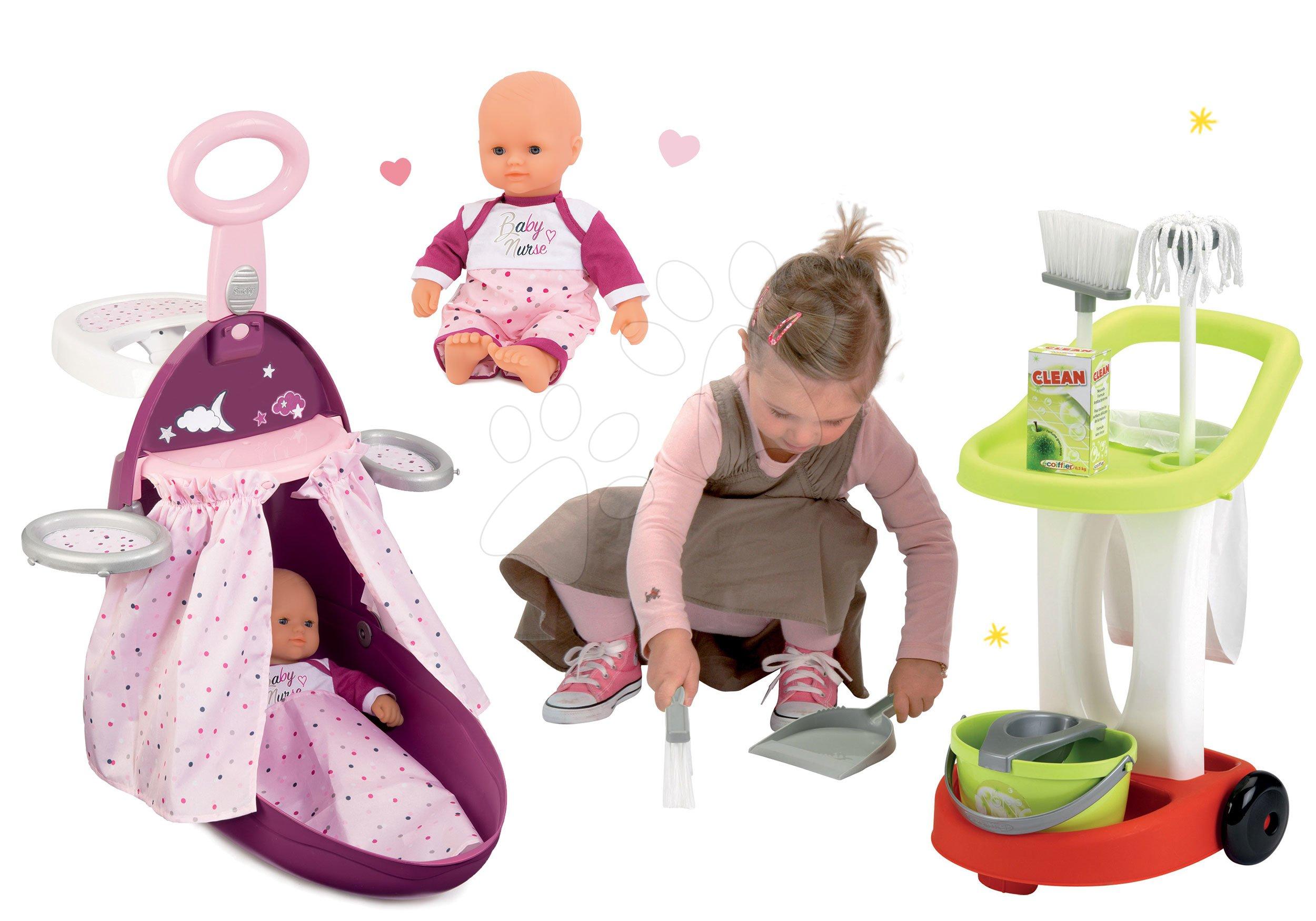 Smoby set prebaľovací vozík Baby Nurse Zlatá edícia, bábika a Écoiffier upratovací vozík 220316-7