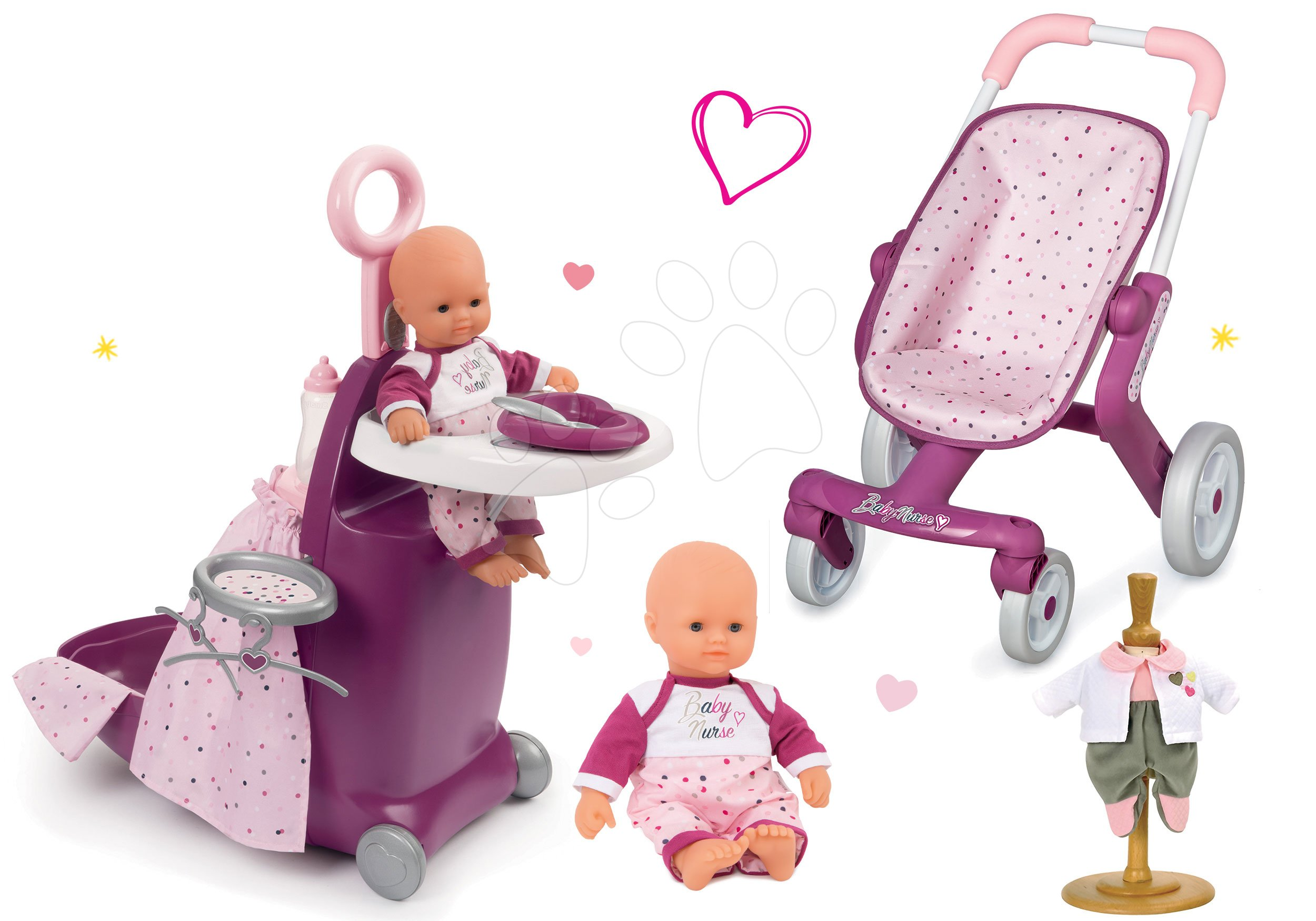 Smoby opatrovateľský kufrík, športový kočiarik pre bábiku Baby Nurse a bábika so šatami Baby Nurse 220316-8