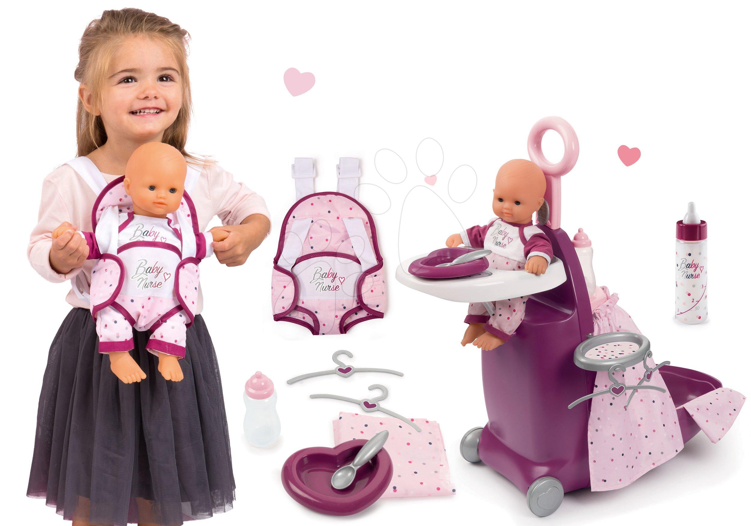 Set prebaľovací kufrík s postieľkou a stoličkou Violette Baby Nurse Smoby a bábika 32 cm s nosičom a fľaškou mlieka