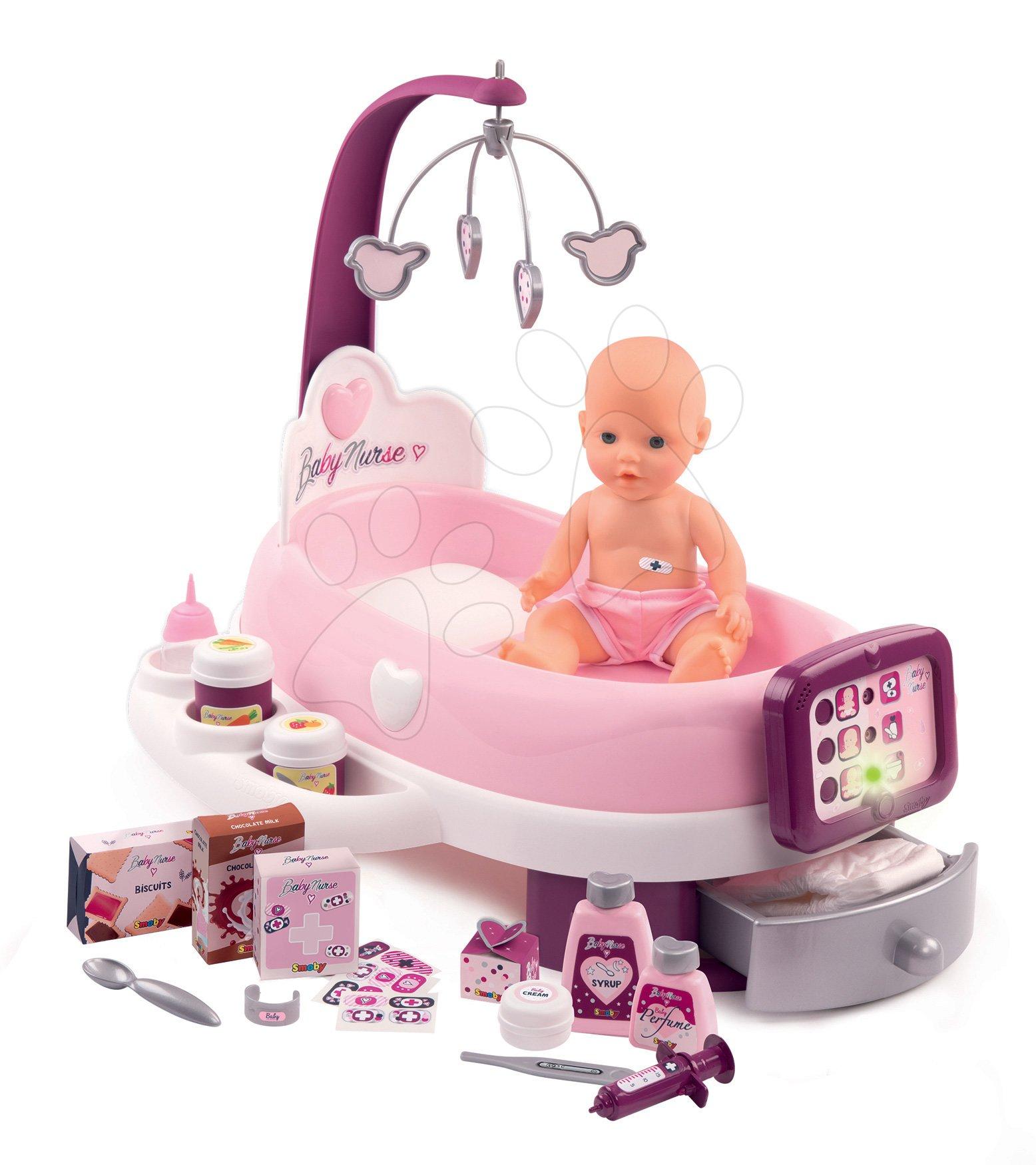 Opatrovateľské centrum elektronické Violette Baby Nurse Smoby s 30 cm cikajúcou bábikou a 24 doplnkami
