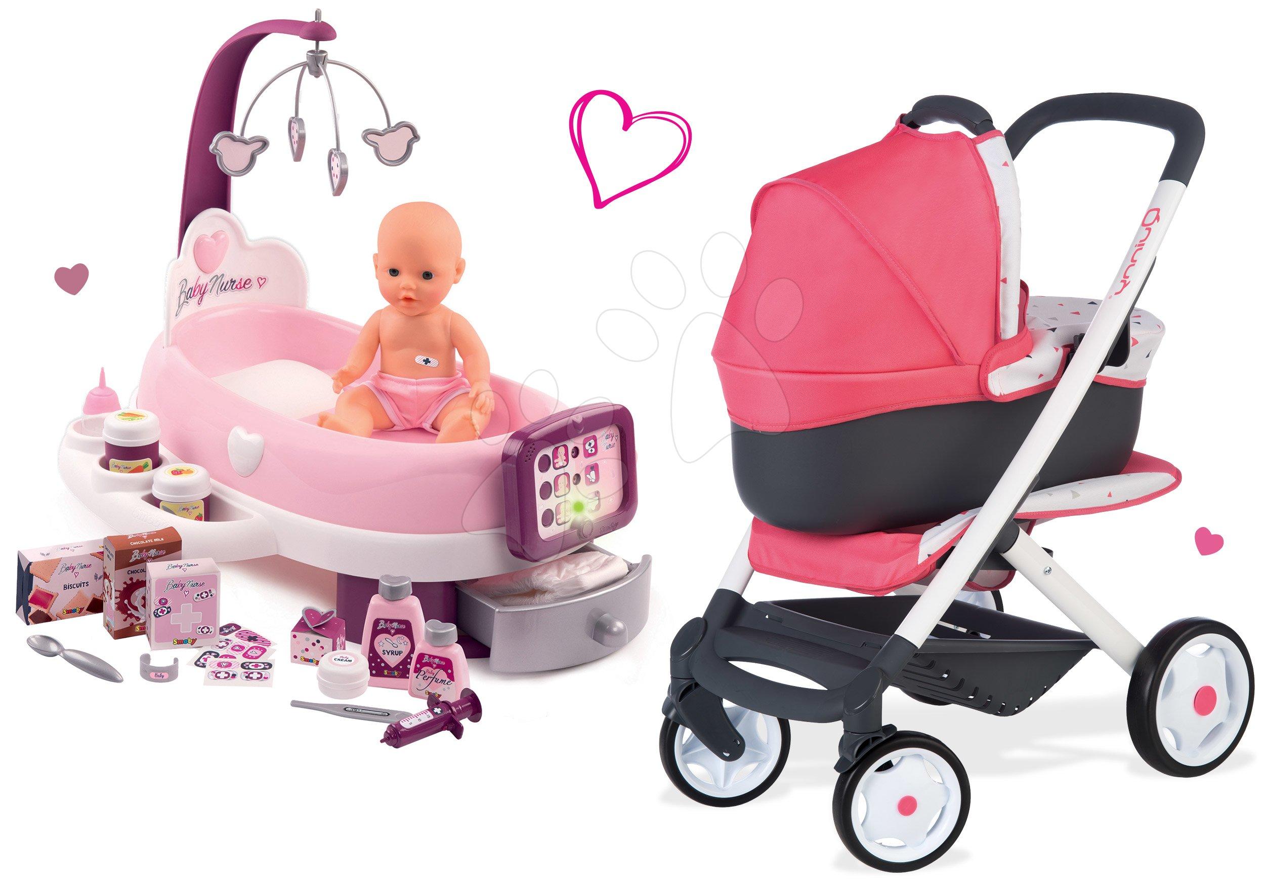 Set opatrovateľské centrum pre bábiku Violette Baby Nurse Smoby a hlboký a športový kočík MaxiCosi&Quinny