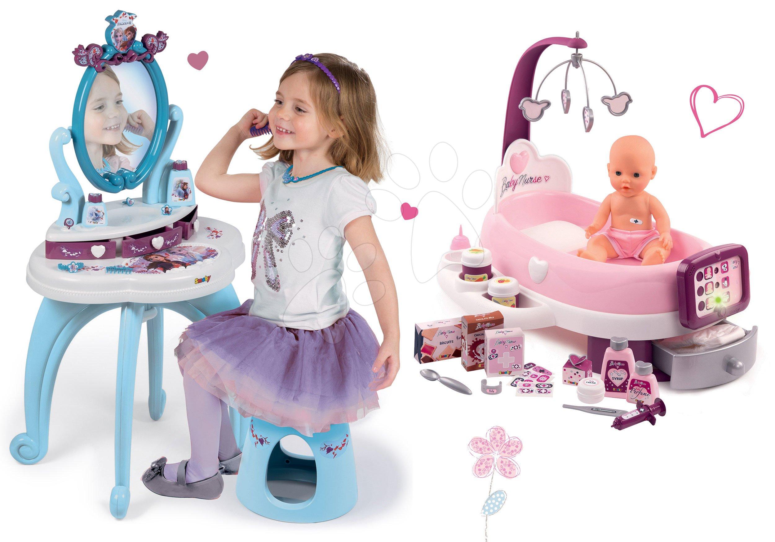 Set opatrovateľské centrum pre bábiku Violette Baby Nurse Smoby a kozmetický stolík Princezné so stoličkou