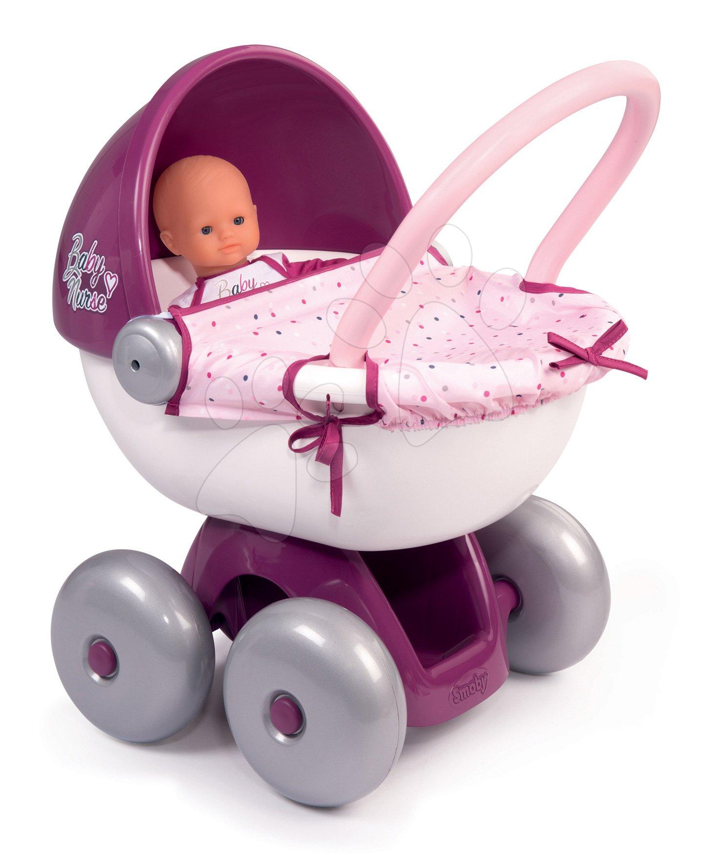 Hluboký kočárek s textilem Violette Baby Nurse Smoby s tichým chodem a ergonomickou 55 cm vysokou rukojetí od 18 měsíců