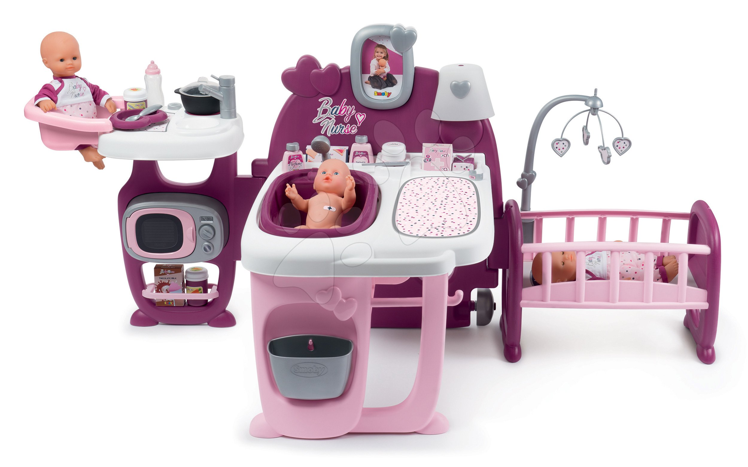 Domček pre bábiku Violette Baby Nurse Large Doll's Play Center Smoby trojkrídlový s 23 doplnkami (kuchynka, kúpelňa, spálňa)