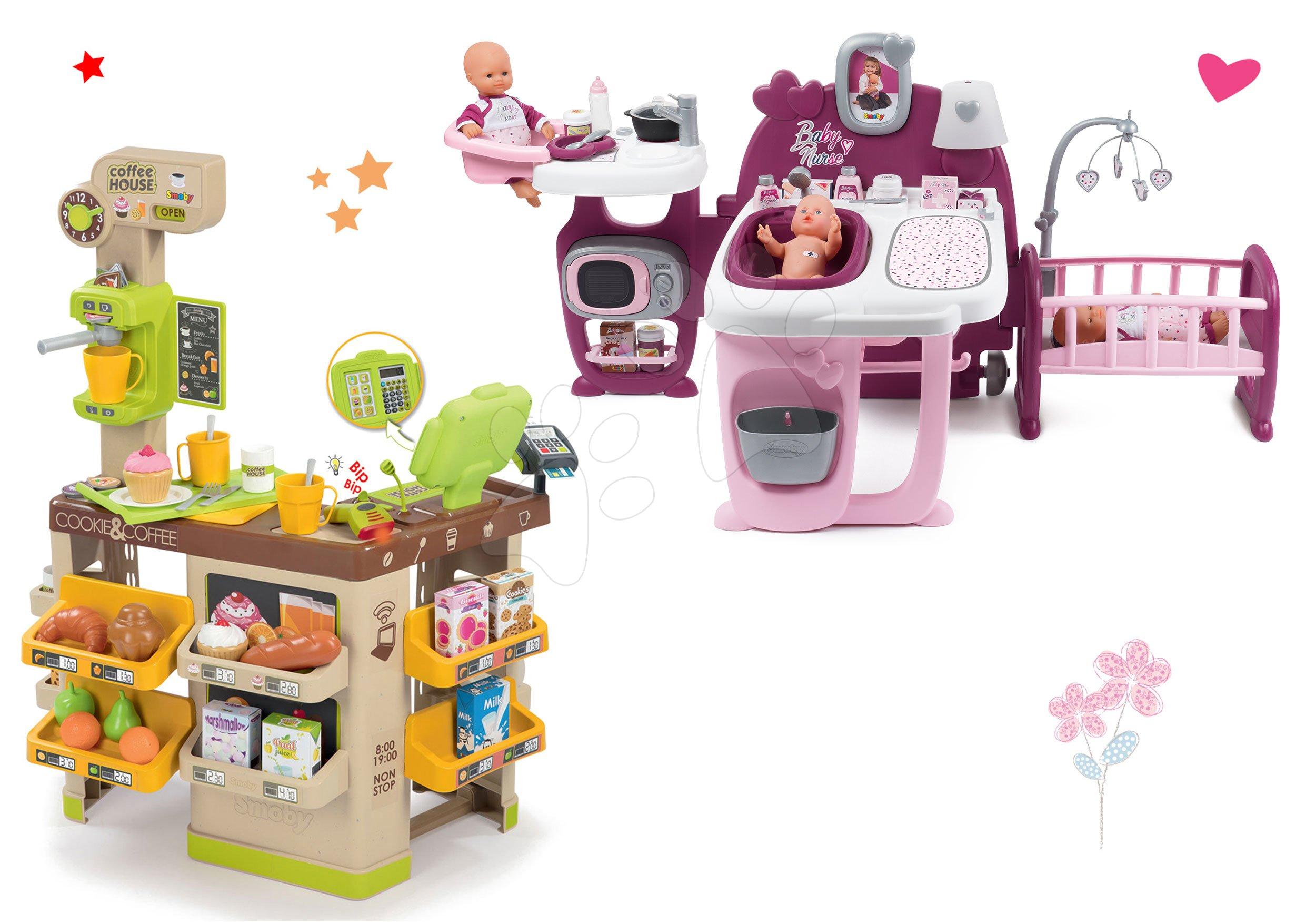 Smoby set domeček pro panenku Baby Nurse Doll´s Play Center a kavárna s kávovarem Coffee House 220327-10