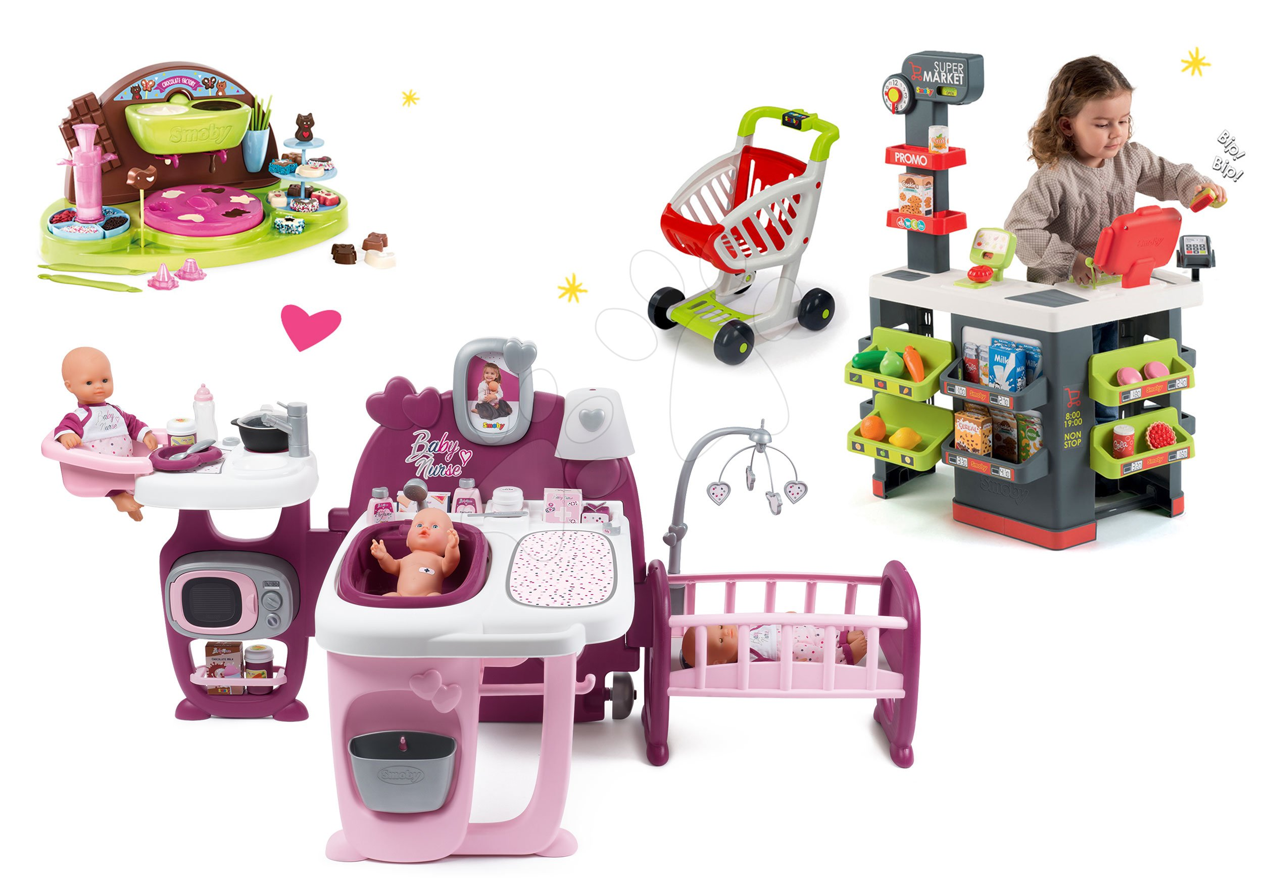 Smoby set domček pre bábiku Baby Nurse Doll´s Play Center a obchod s vozíkom a hravá kuchárka Čokoládovňa 220327-11