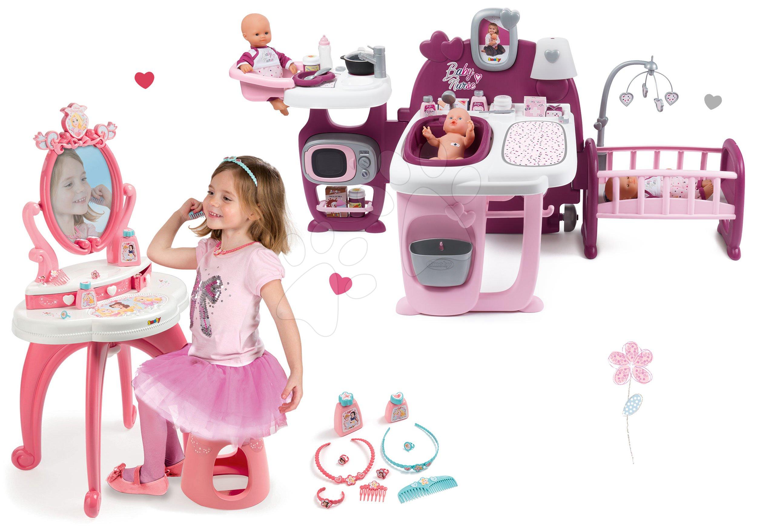 Set domeček pro panenku Violette Baby Nurse Large Doll's Play Center Smoby a kosmetický stolek Princezny 2v1 se židlí