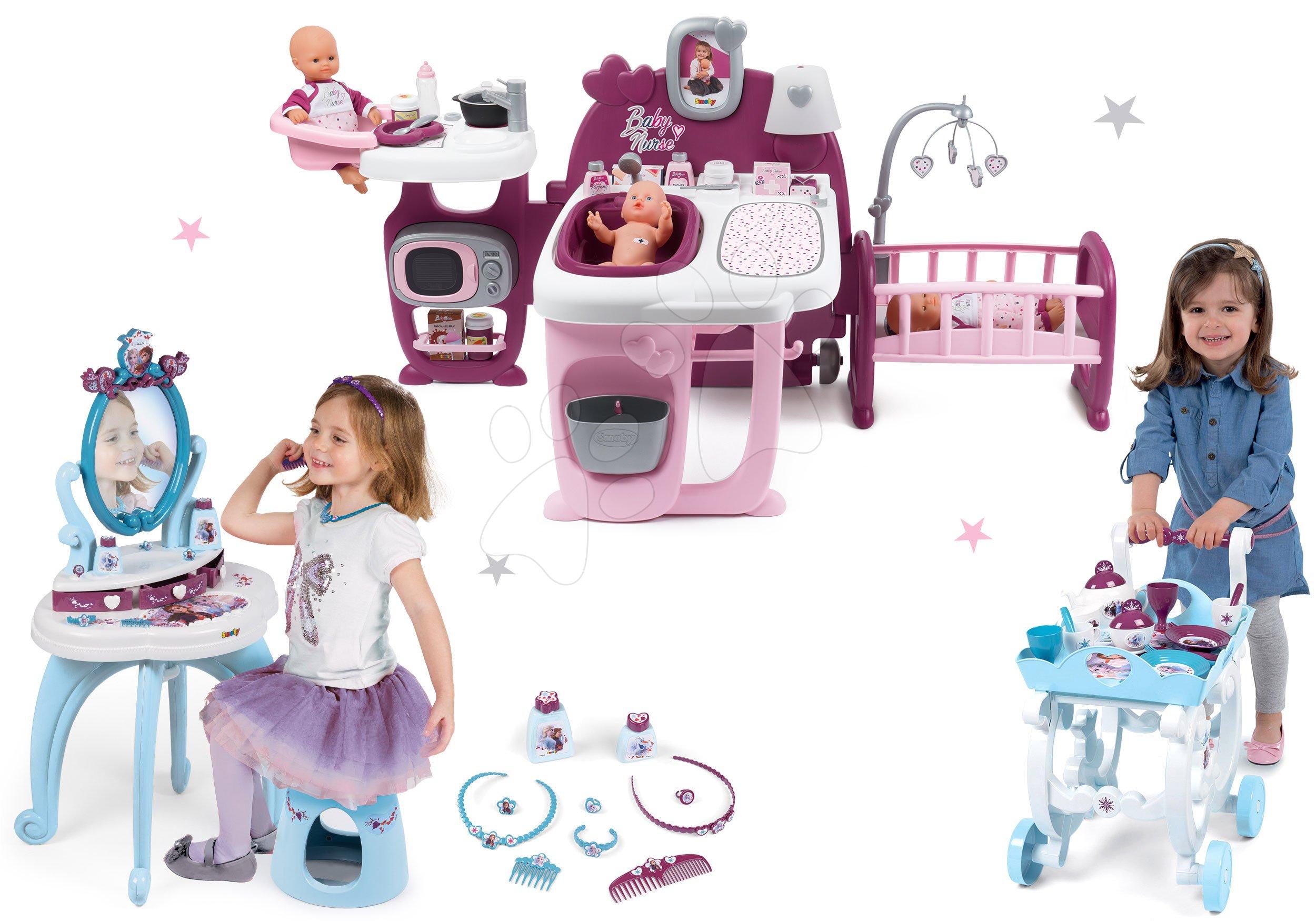 Set domeček pro panenku Violette Baby Nurse Large Doll's Play Center Smoby a kosmetický stolek Frozen 2v1 a servírovací vozík Frozen 2 XL Tea Trolley