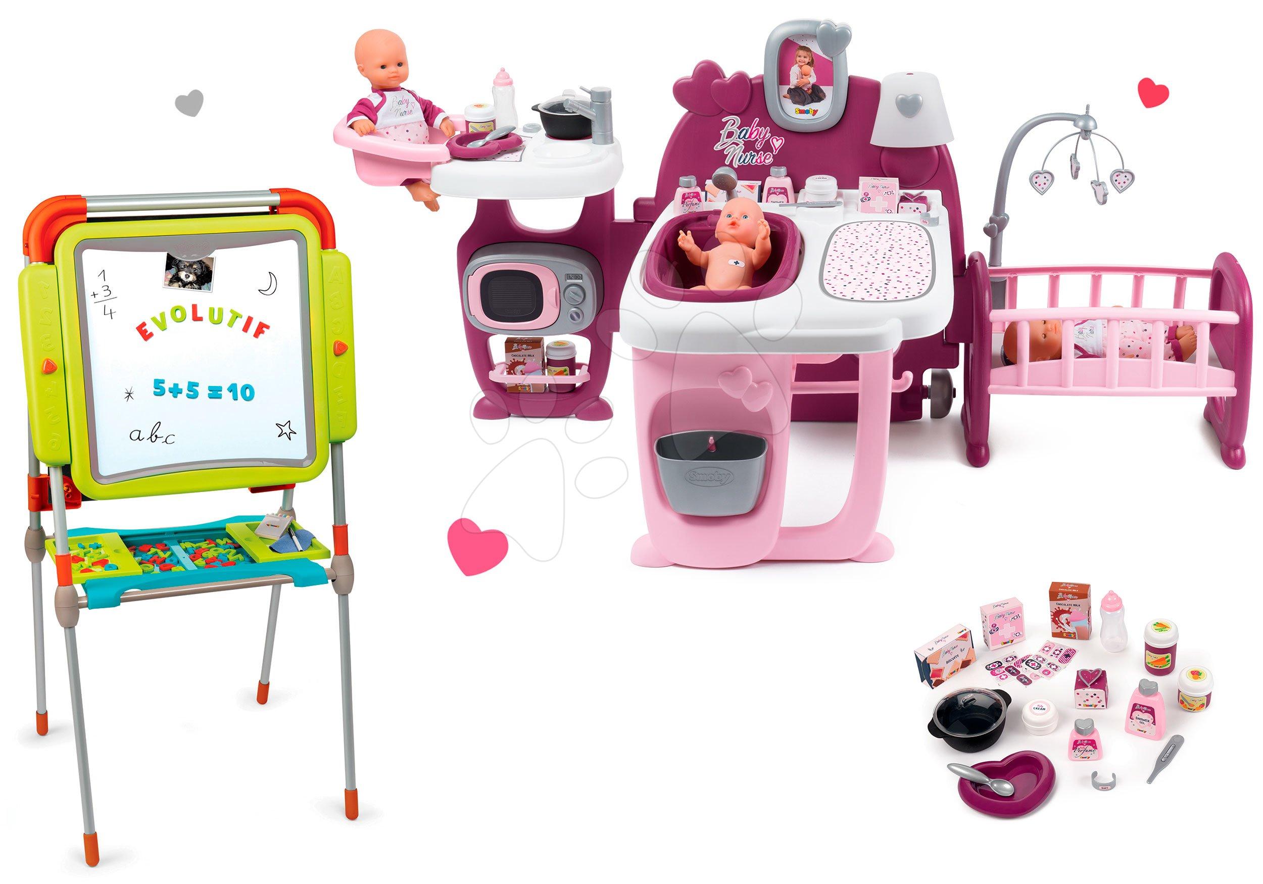 Smoby set domček pre bábiku Baby Nurse Doll´s Play Center a školská tabuľa magnetická 220327-14