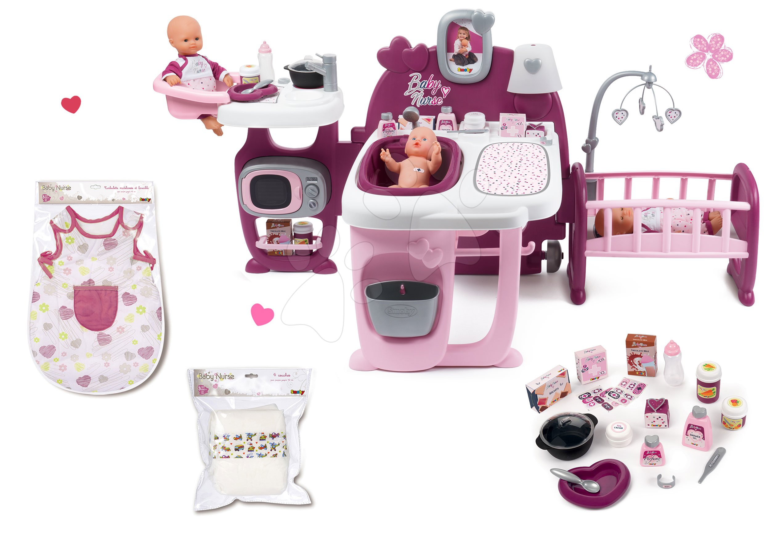 Căsuță pentru păpușă Baby Nurse Doll's Play Center Smoby și echipament de noapte cu scutece