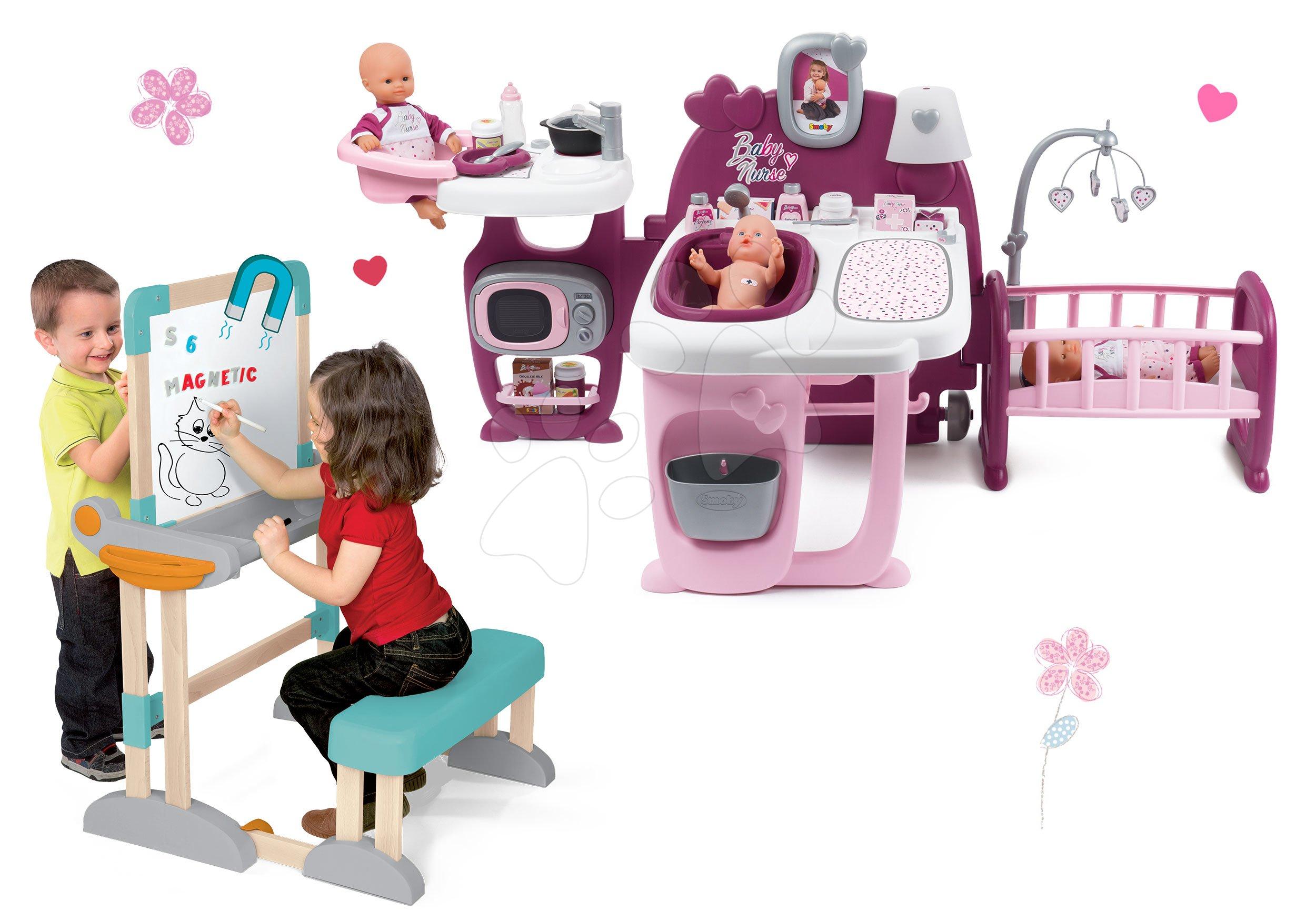 Set domeček pro panenku Violette Baby Nurse Large Doll's Play Center Smoby a dřevěná lavice Modulo Space obojstranná