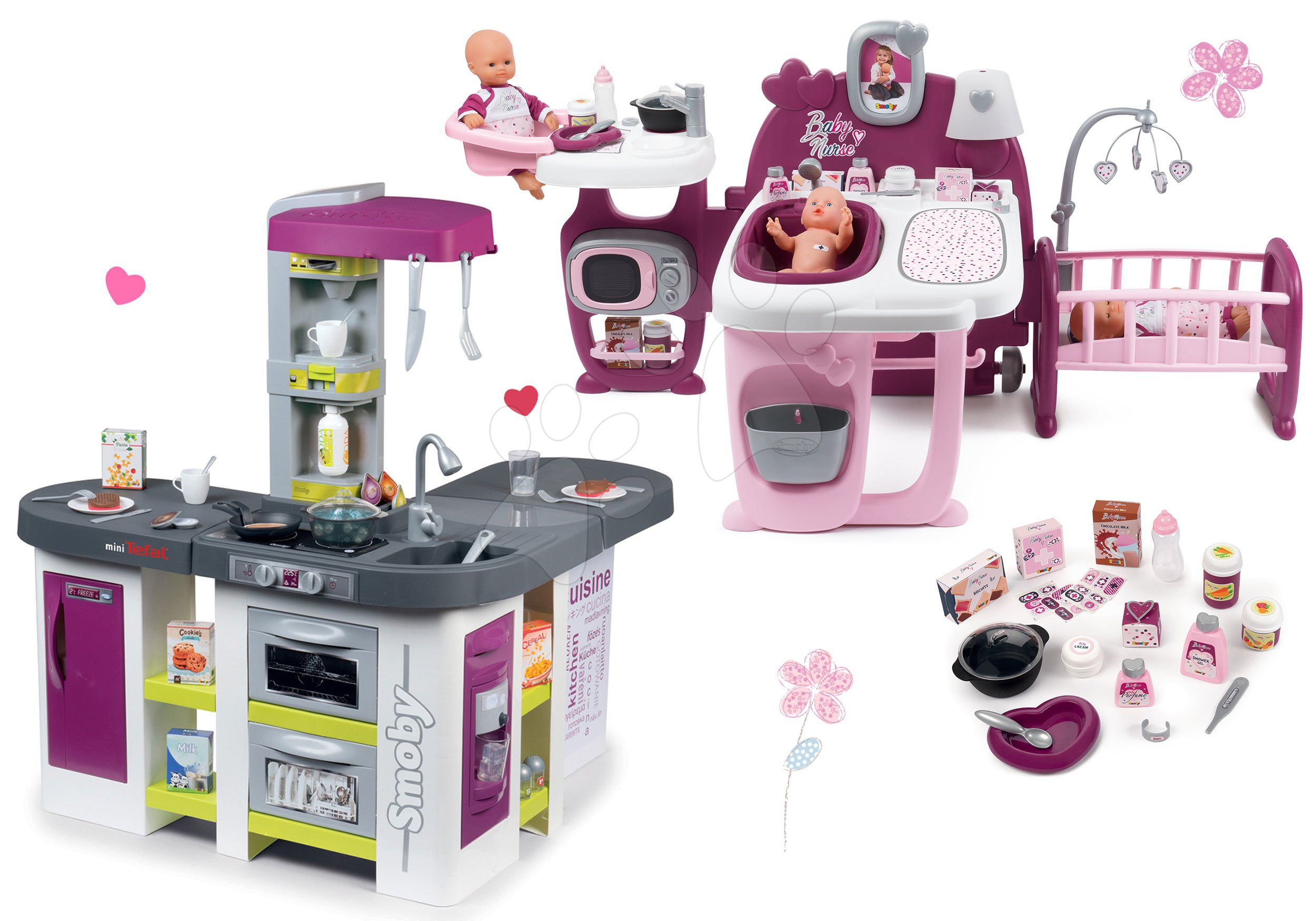 Smoby set domeček pro panenku Baby Nurse Doll´s Play Center a kuchyňka elektronická Tefal Studio XXL Bubble 220327-19