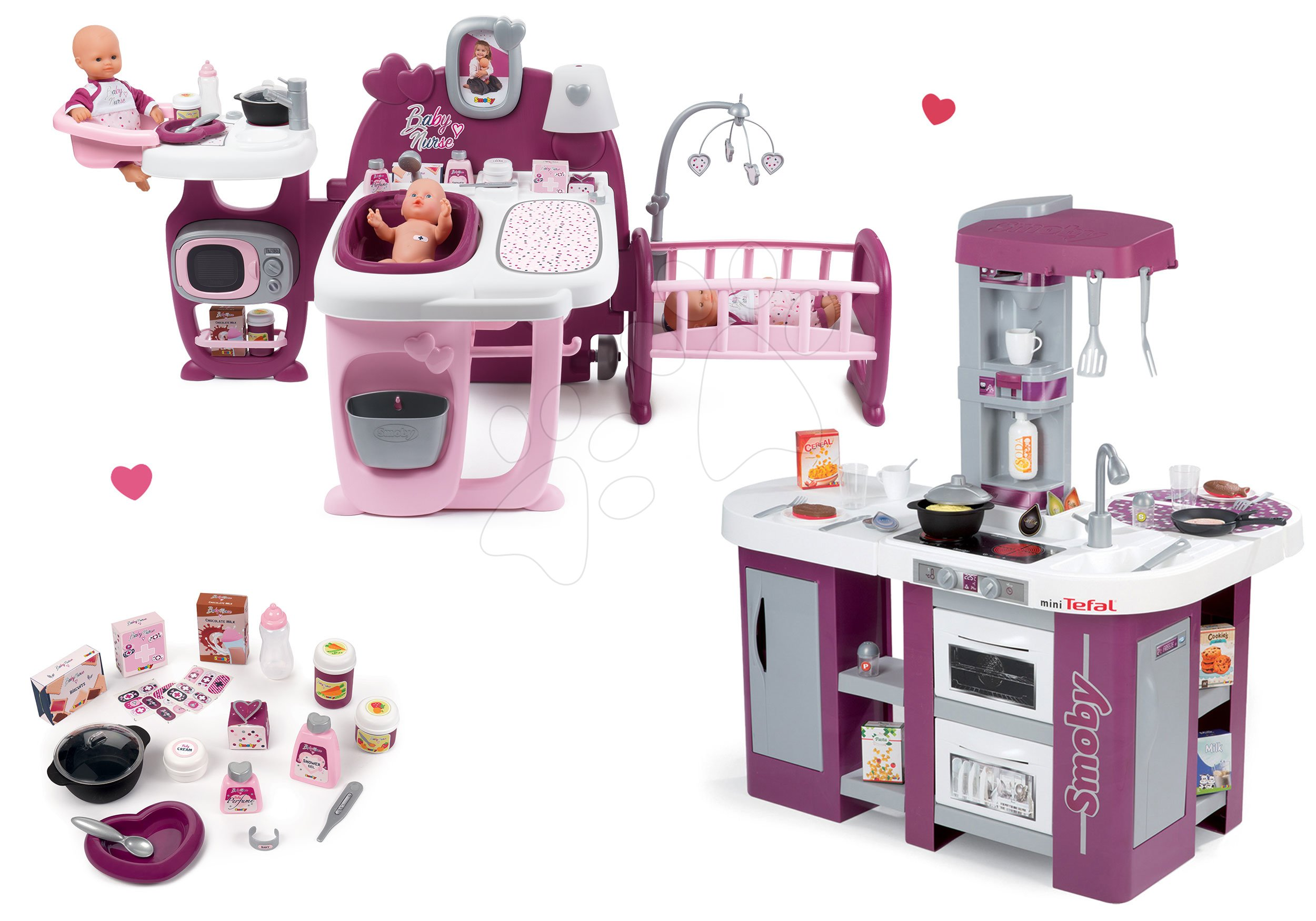 Set domček pre bábiku Violette Baby Nurse Large Doll's Play Center Smoby a kuchynka Tefal Studio XL elektronická