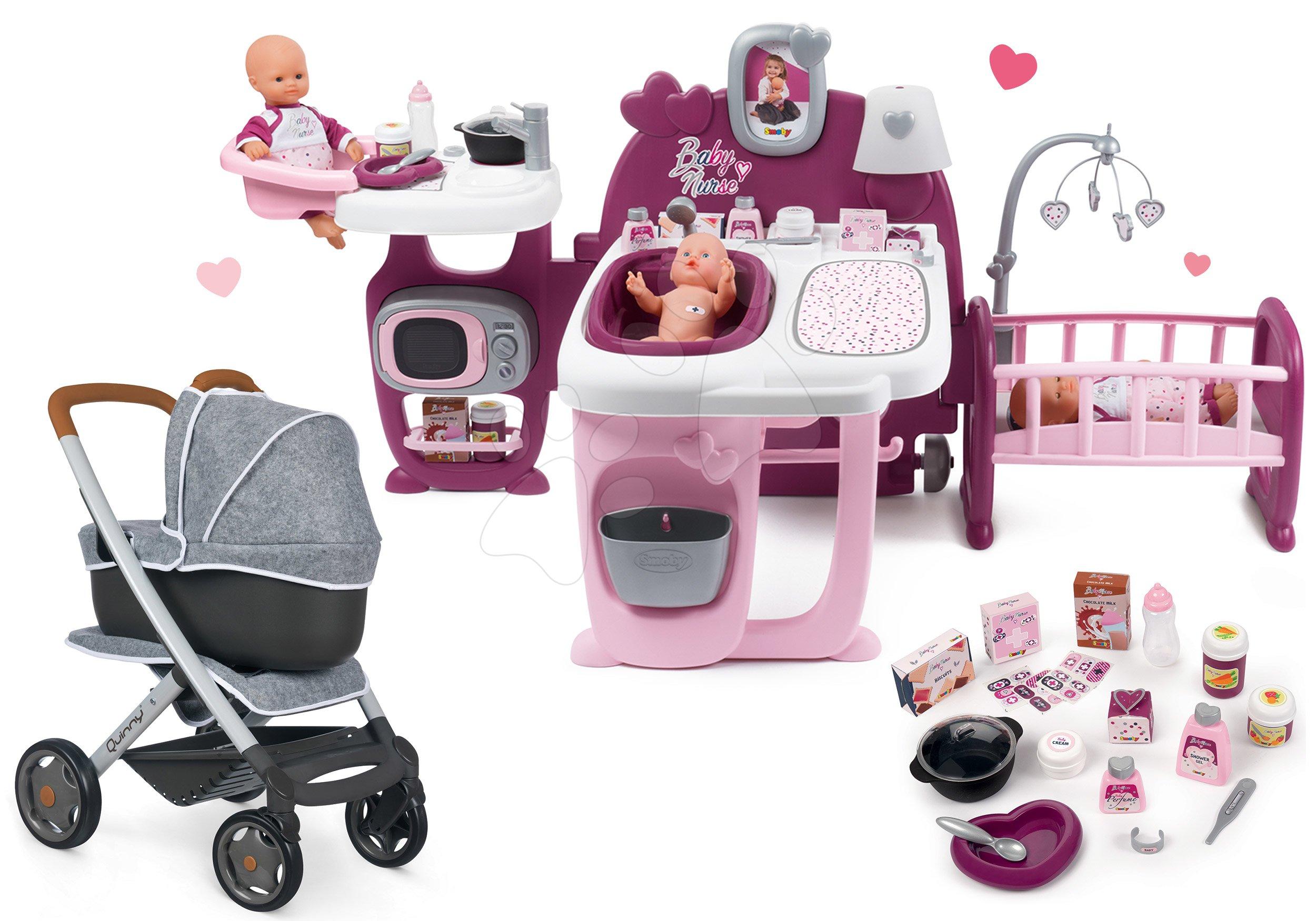 Set domček pre bábiku Violette Baby Nurse Large Doll's Play Center Smoby a kočík hlboký a športový DeLuxe Maxi Cosi & Quinny Grey