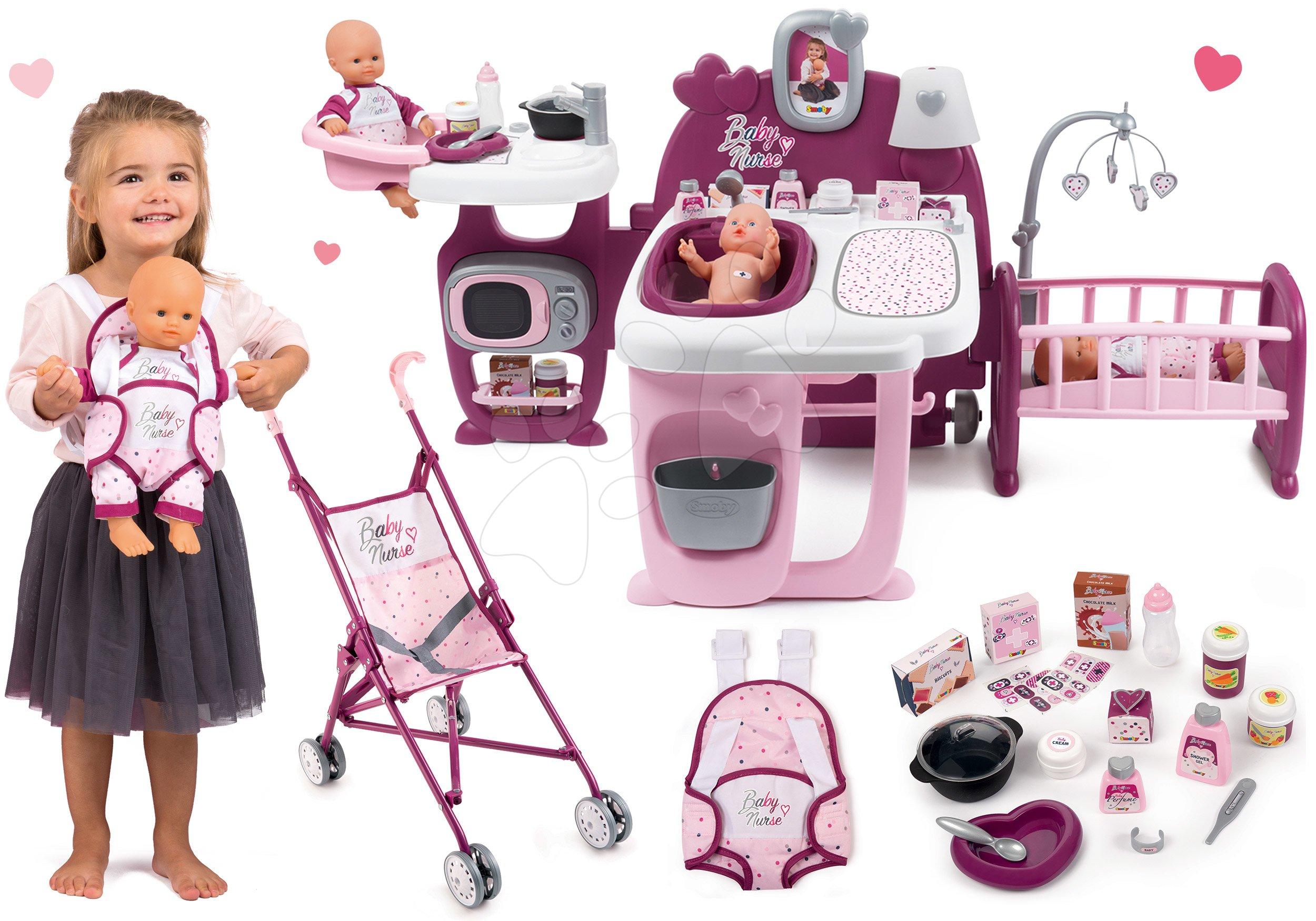 Set domček pre bábiku Violette Baby Nurse Large Doll's Play Center Smoby a kočík golfky s bábikou a ergonomickým nosičom