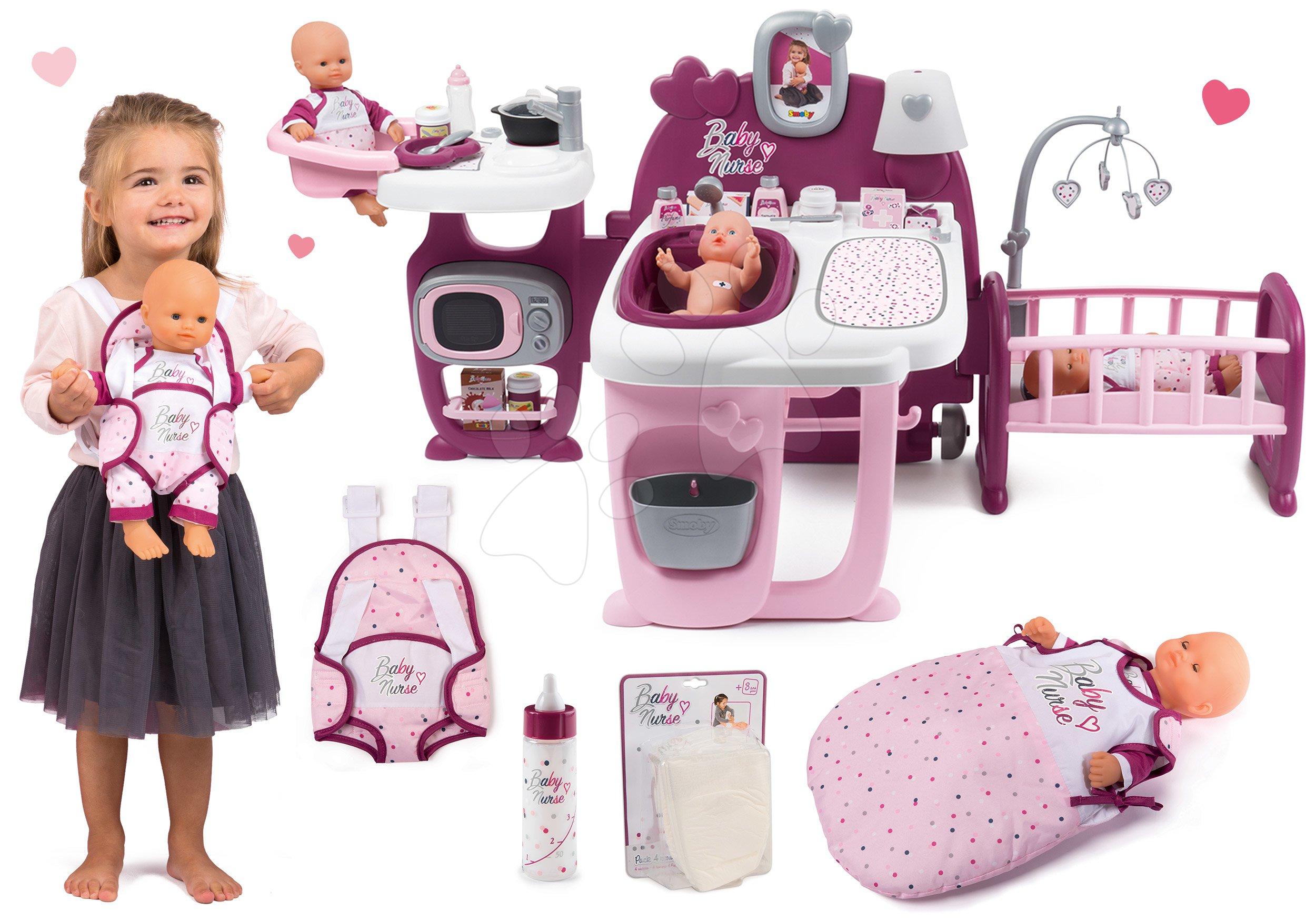 Set domeček pro panenku Violette Baby Nurse Large Doll's Play Center Smoby a panenka s pamperskami a lahví, nosič s nočním úborem