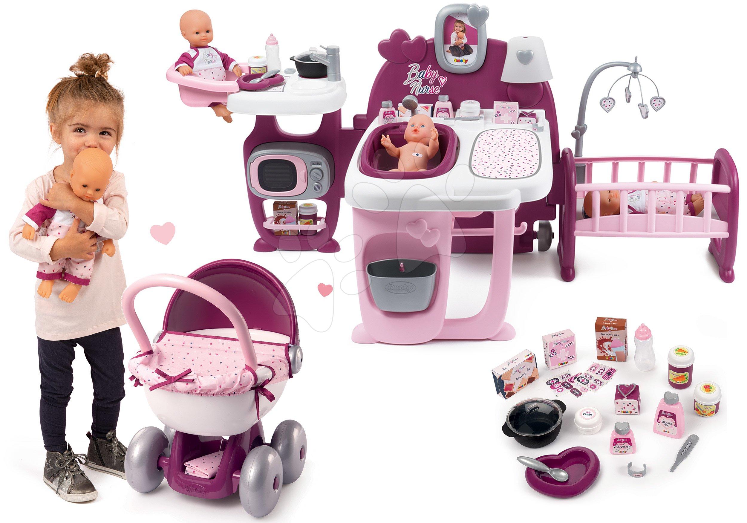 Set domček pre bábiku Violette Baby Nurse Large Doll's Play Center Smoby a hlboký kočík s textilom a 32 cm bábikou
