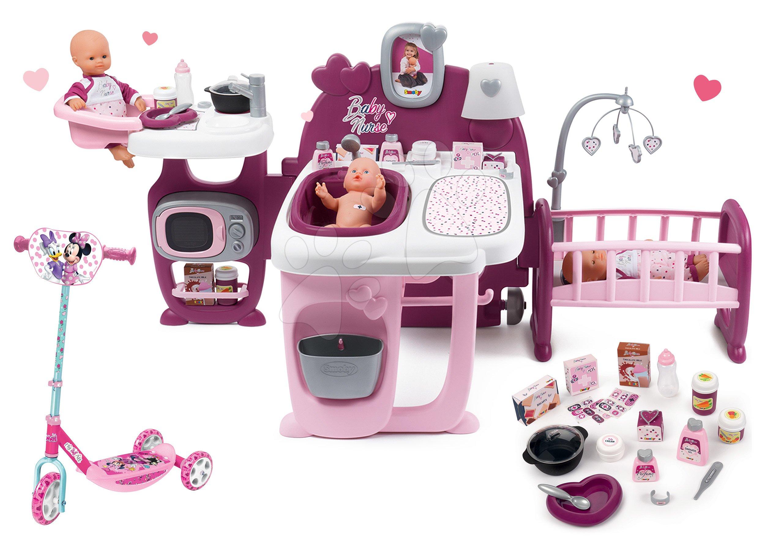 Set domček pre bábiku Violette Baby Nurse Large Doll's Play Center Smoby a kolobežka Disney Minnie trojkolesová