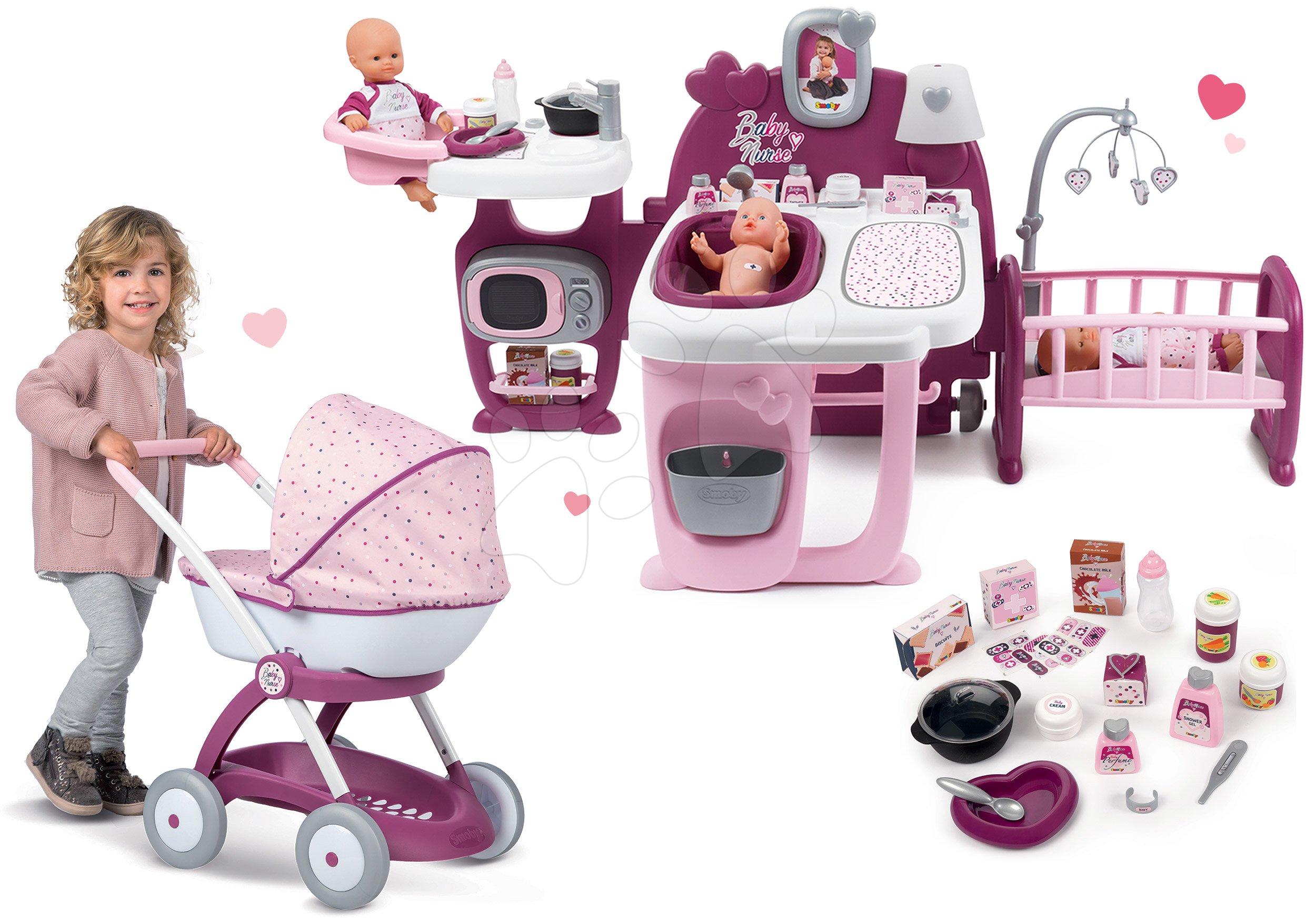 Set domček pre bábiku Violette Baby Nurse Large Doll's Play Center Smoby a hlboký kočík pre bábiku
