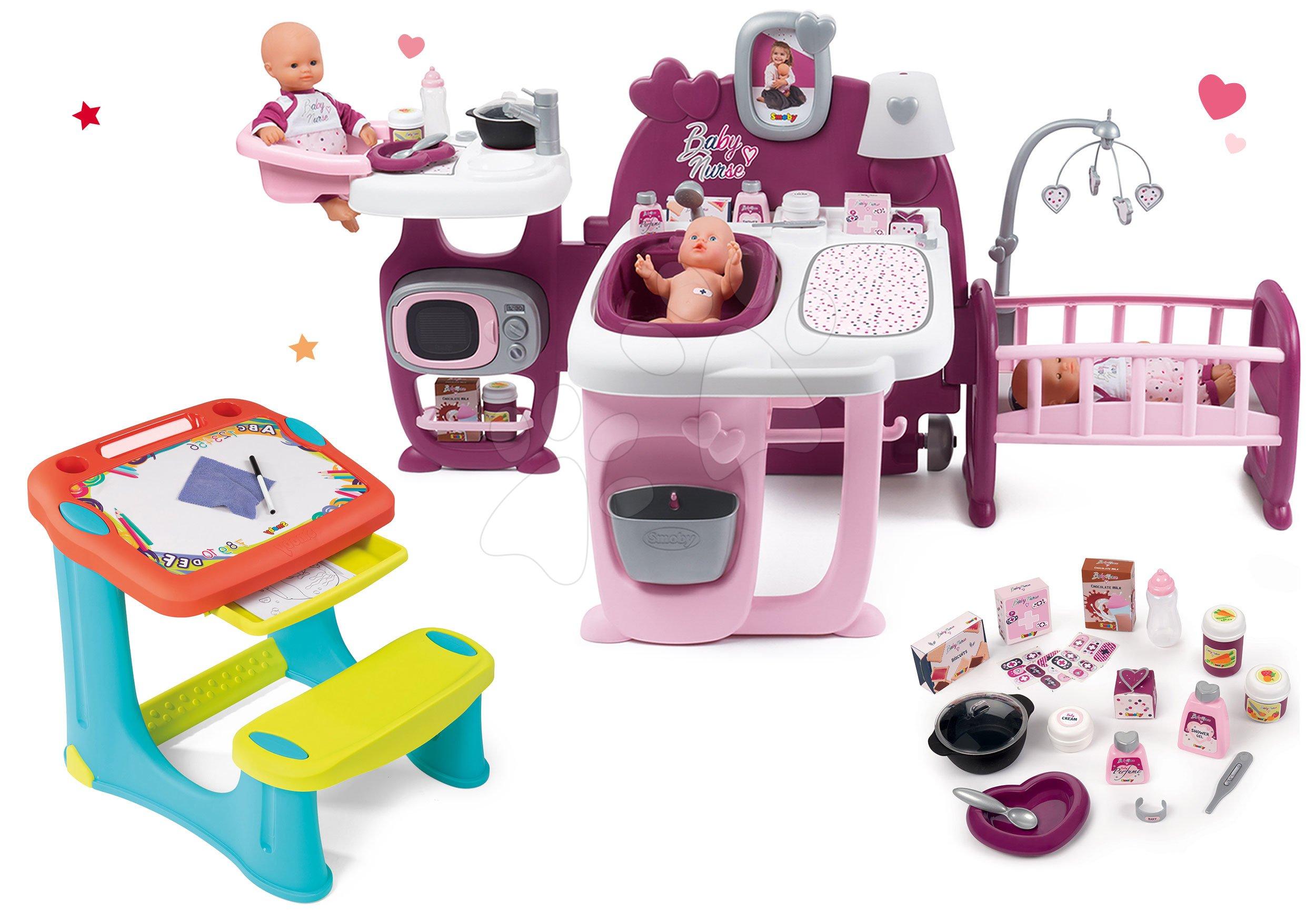 Set domeček pro panenku Violette Baby Nurse Large Doll's Play Center Smoby a lavice na kreslení Kresli a smaž s odkládacím prostorem