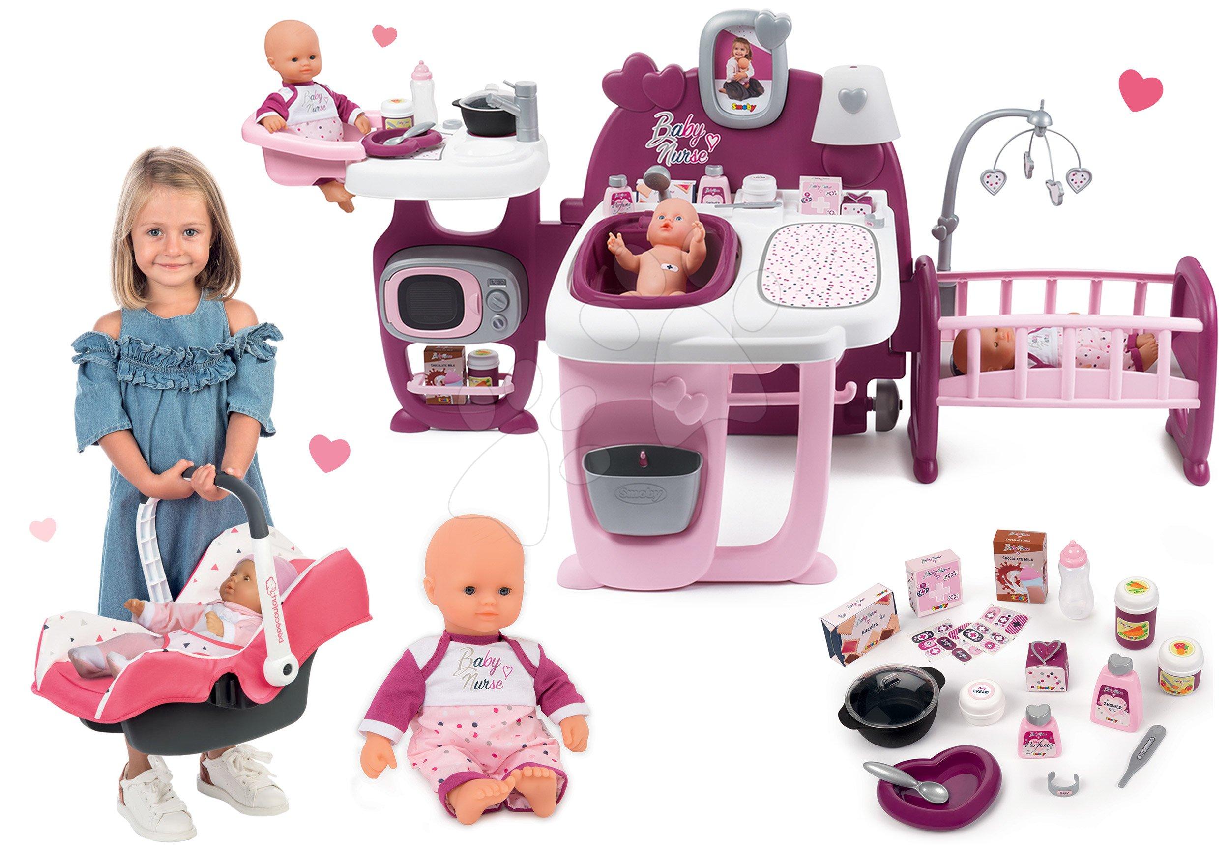 Set domček pre bábiku Violette Baby Nurse Large Doll's Play Center Smoby a bábika s autosedačkou a nosičom