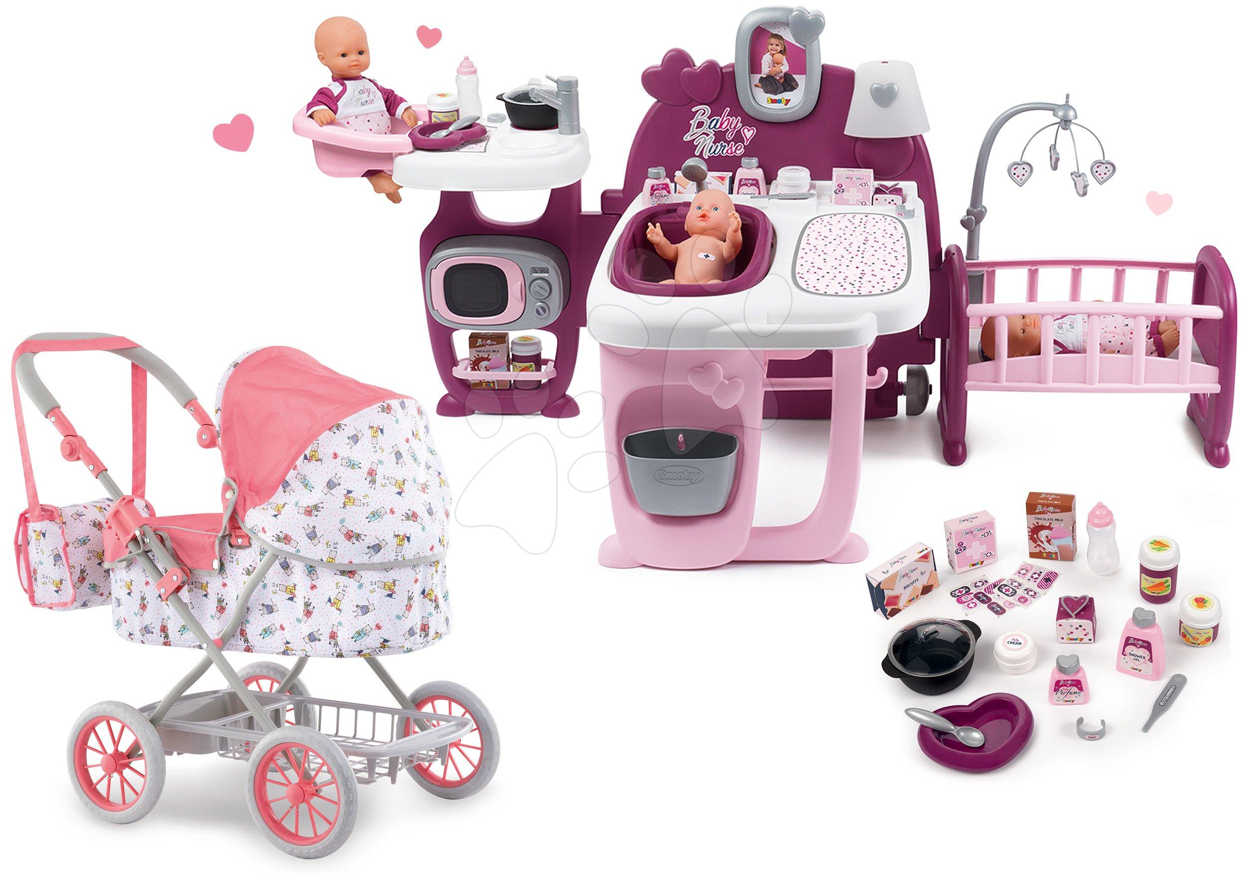 Set domček pre bábiku Violette Baby Nurse Large Doll's Play Center Smoby a hlboký kočík Mon Grand skladací pre 36-52 cm bábiku