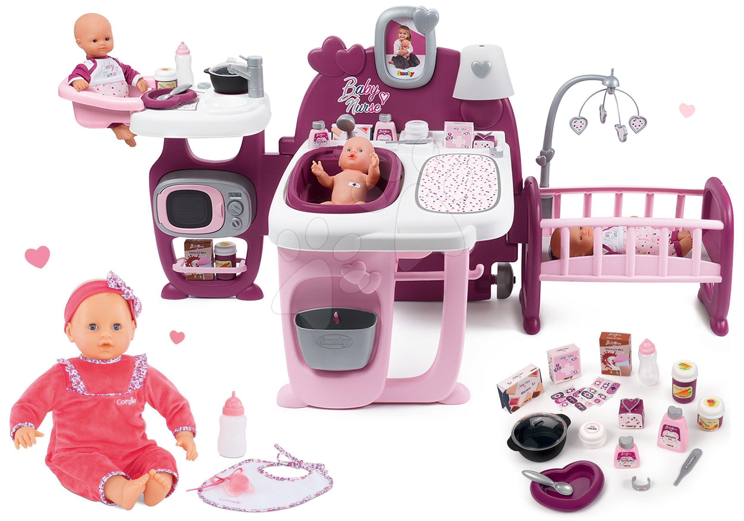 Set domeček pro panenku Violette Baby Nurse Large Doll's Play Center Smoby a panenka Lila Chérie Mon Grand 42 cm se zvuky, 5 funkcemi