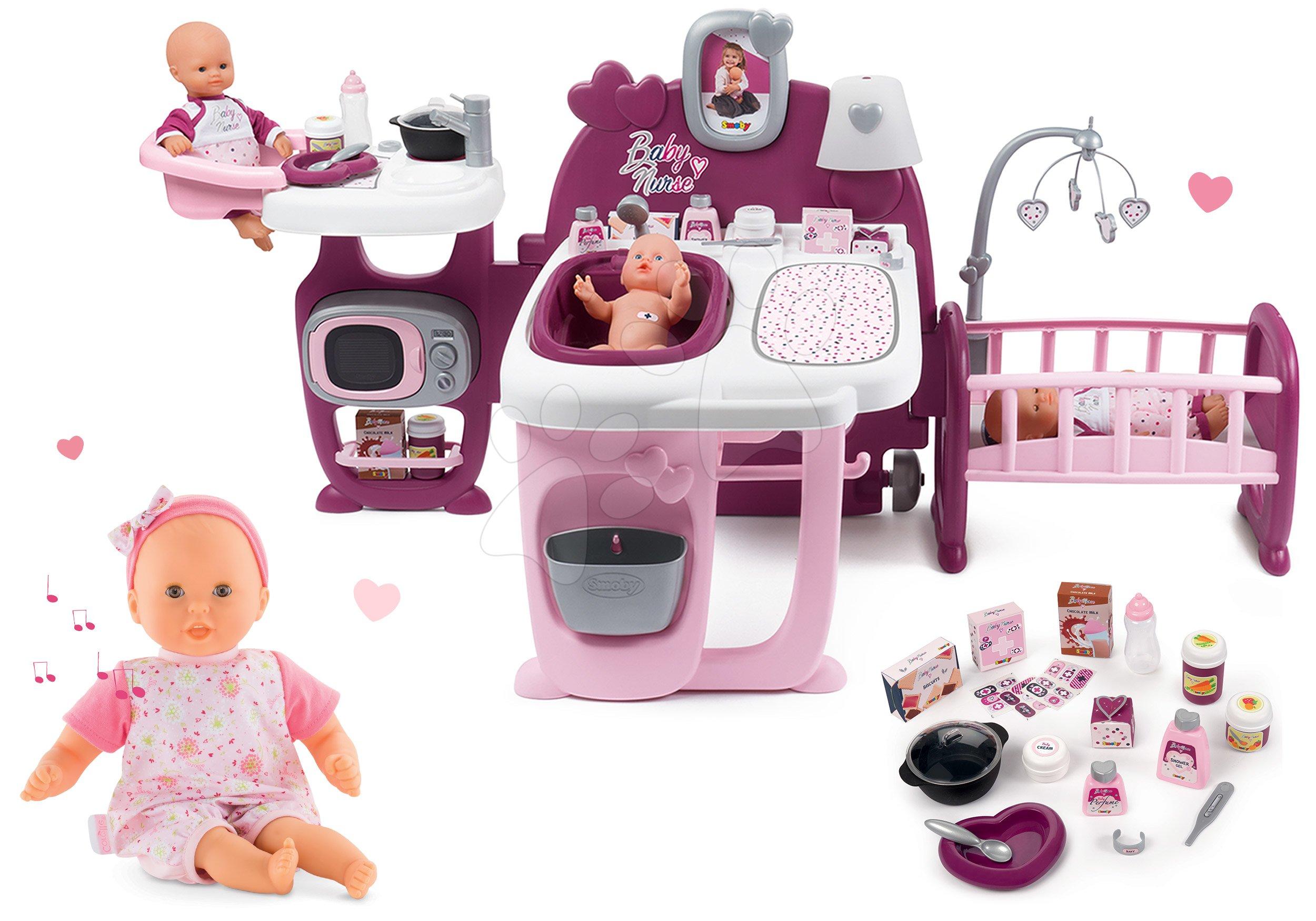 Set centru bebe Violette Baby Nurse Large Doll's Play Center Smoby și păpușă interactivă Bébé Calin Loving & Melodies cu 4 sunete și 3 melodii 30 cm