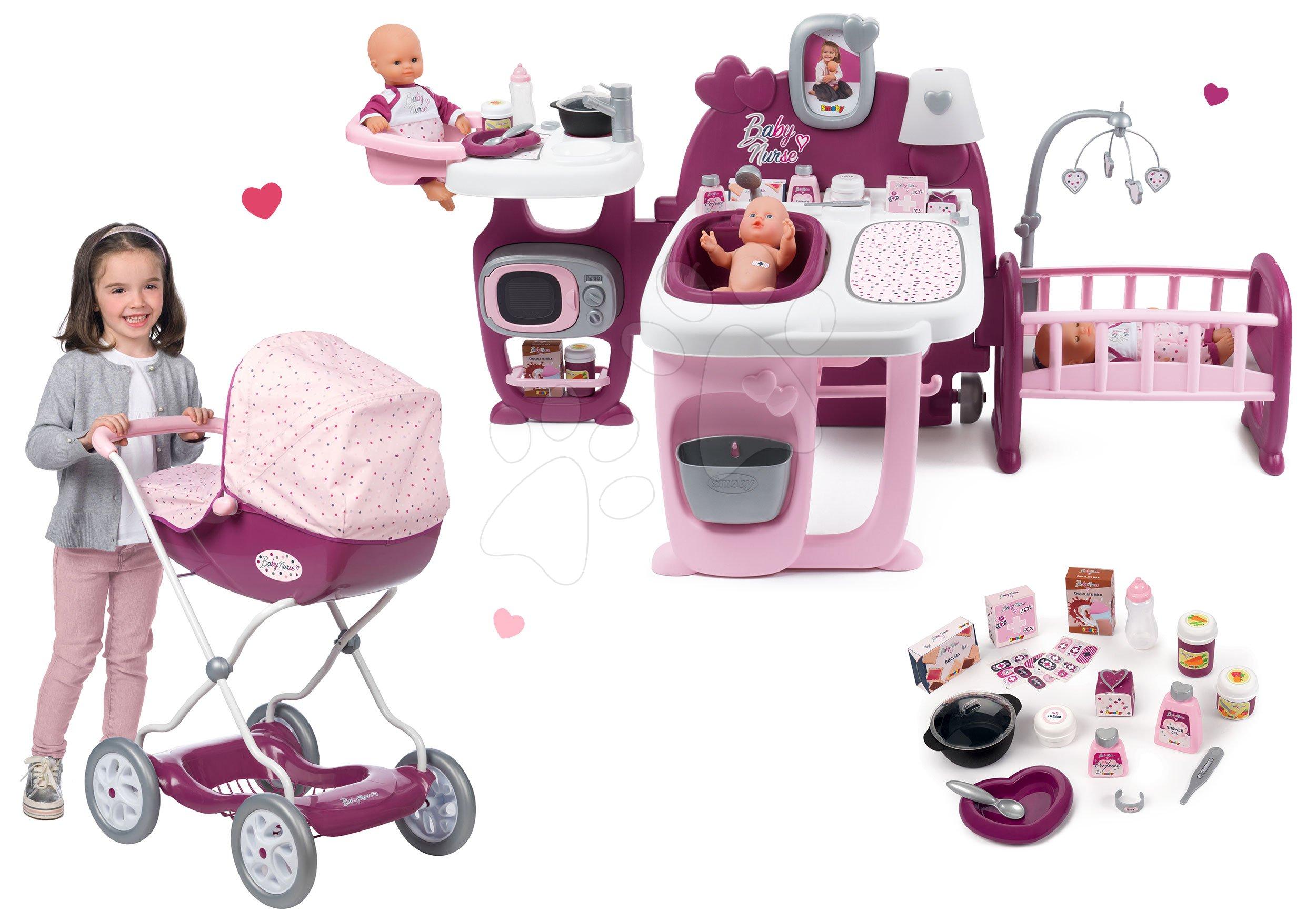Set domček pre bábiku Violette Baby Nurse Large Doll's Play Center Smoby a kočík hlboký veľký Violette pre 42 cm bábiku