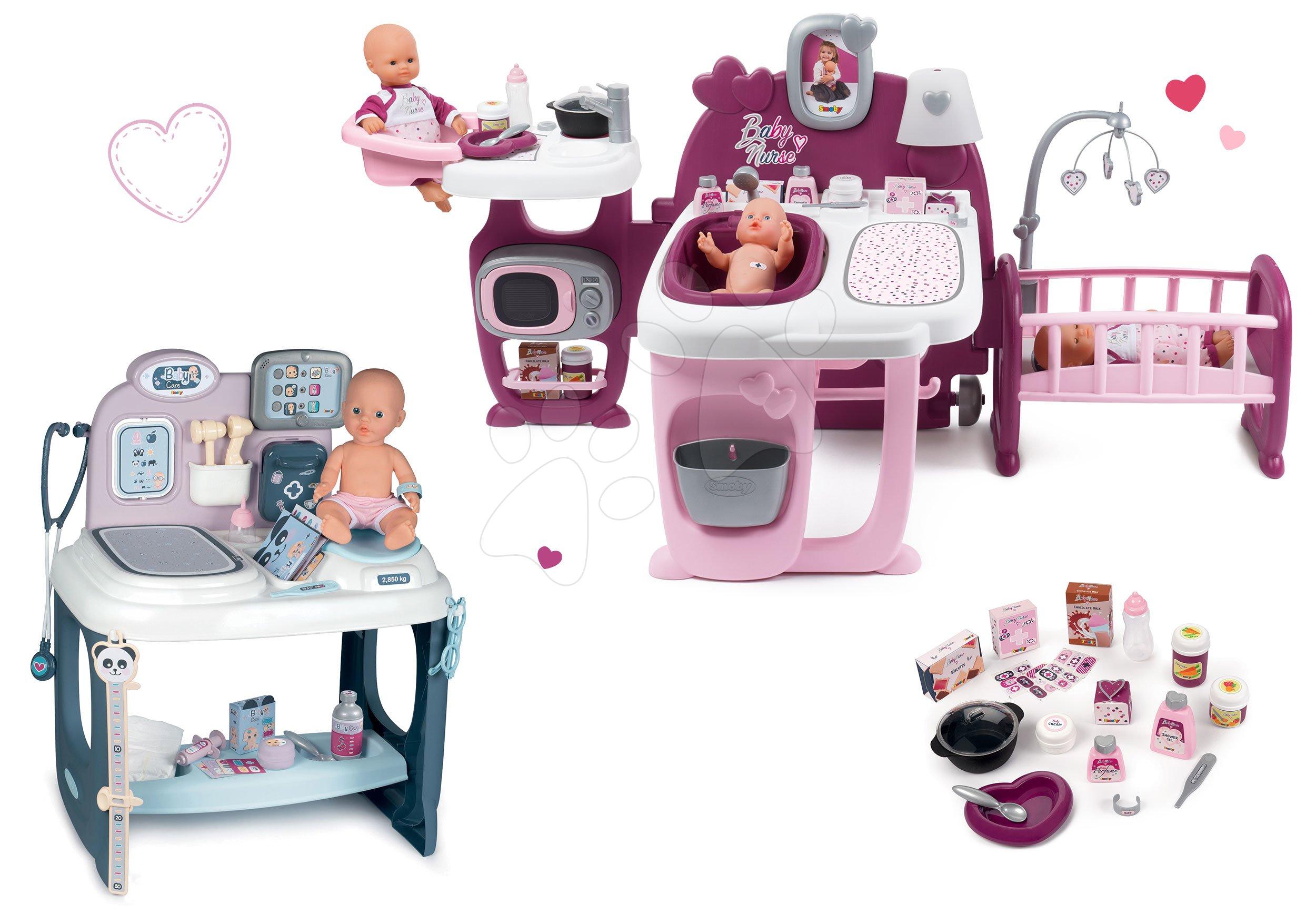 Set domček pre bábiku Violette Baby Nurse Large Doll's Play Center Smoby a zdravotnícky pult so zvukom a svetlom a s cikajúcou bábikou