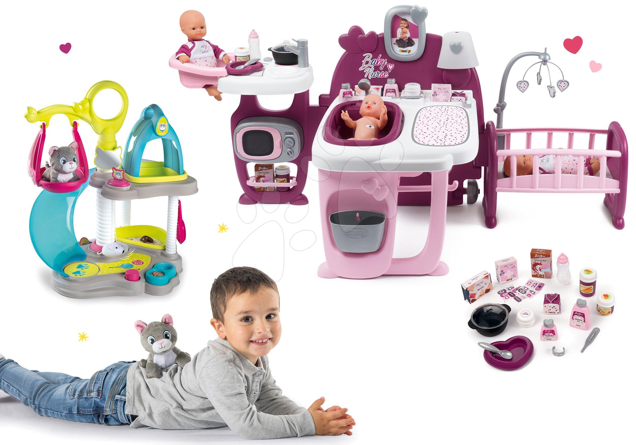 Set domček pre bábiku Violette Baby Nurse Large Doll's Play Center Smoby a domček pre mačičku s hojdačkou a šmykľavkou