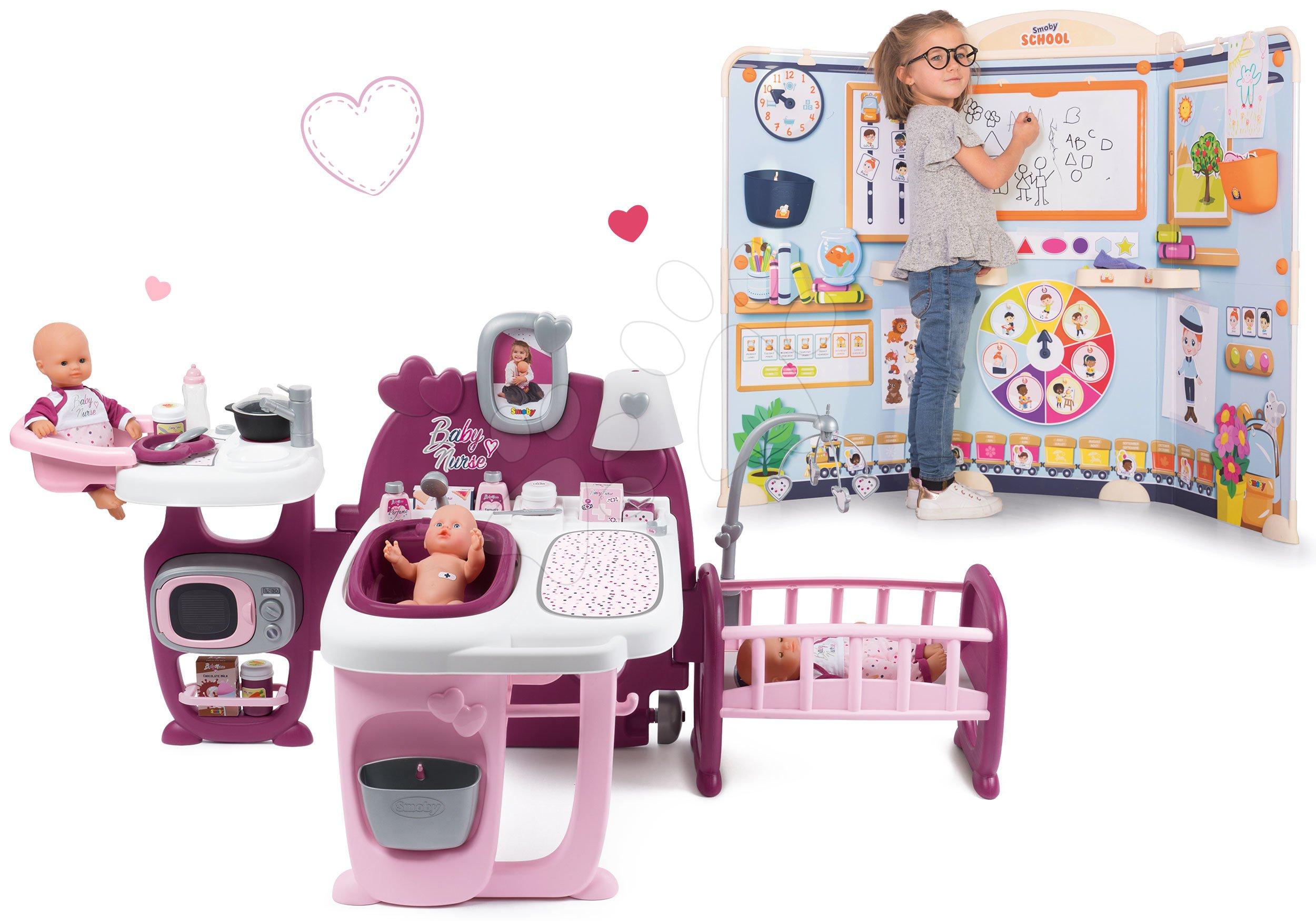 Set domček pre bábiku Violette Baby Nurse Large Doll's Play Center Smoby a škola pre škôlkárov Hra na učiteľa a žiaka SM220349-34