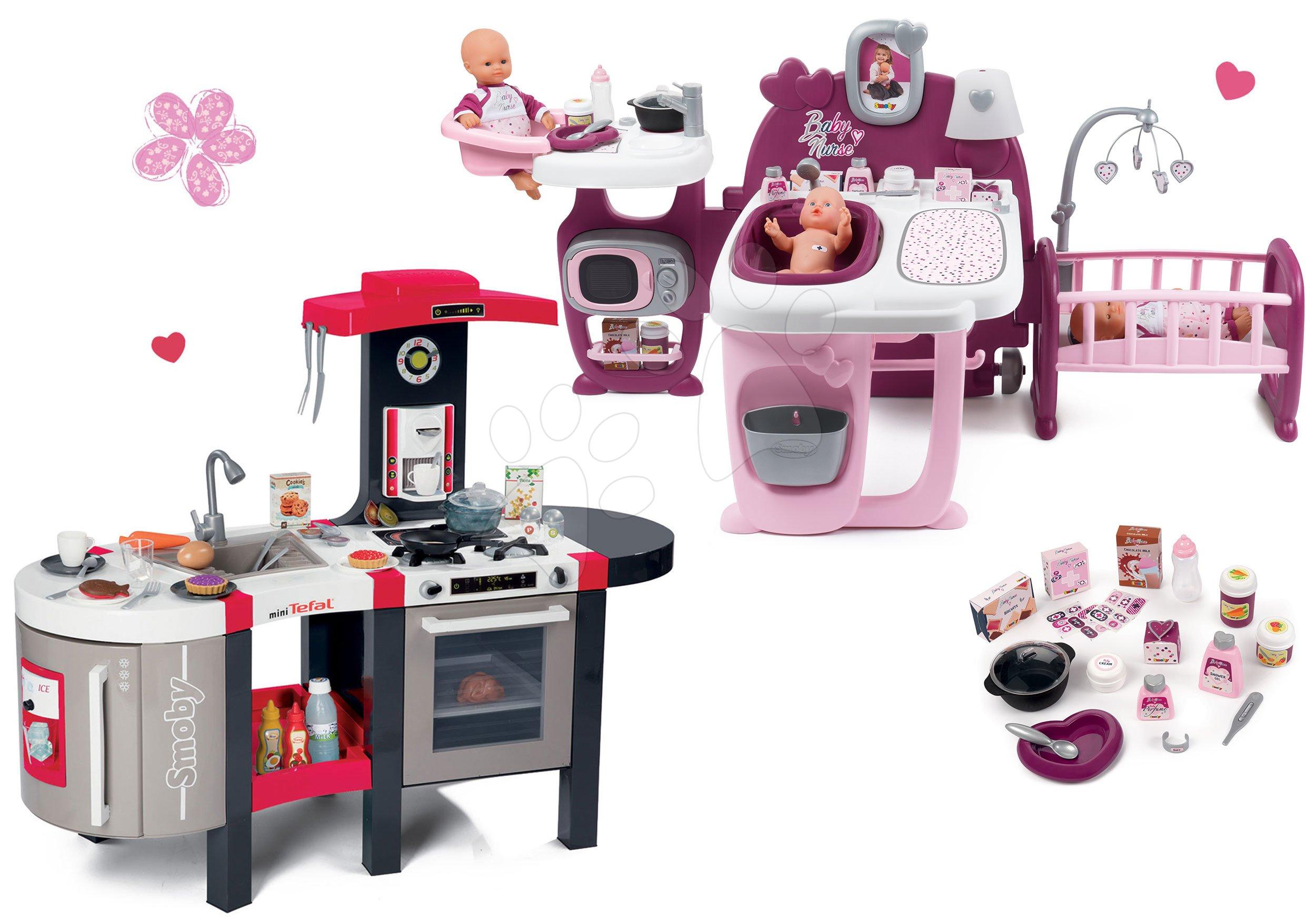 Smoby set domček pre bábiku Baby Nurse Doll´s Play Center a elektronická kuchynka Tefal Super Chef Deluxe 220327-4