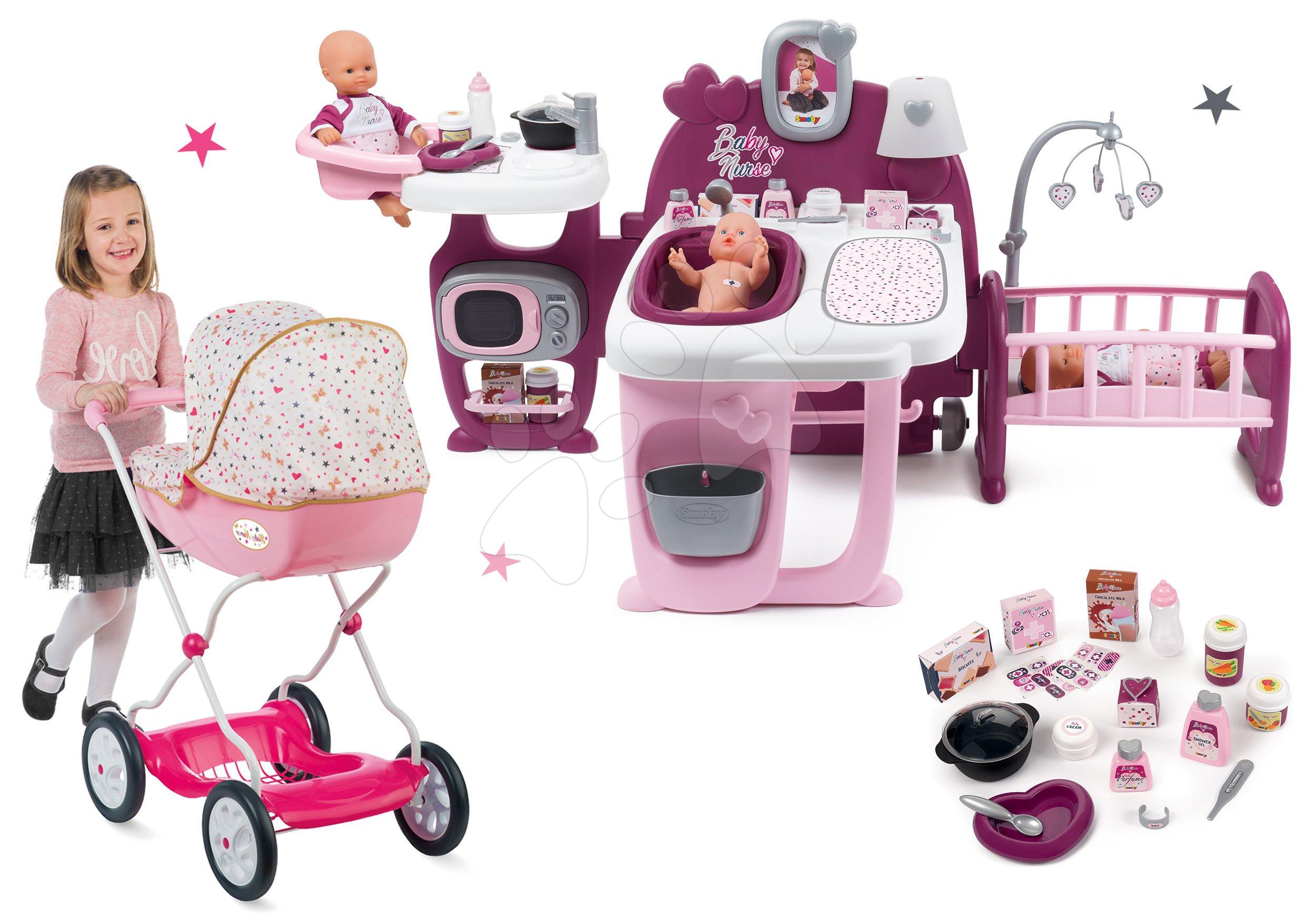 Smoby set domeček pro panenky Baby Nurse Doll´s Play Center a kočárek Landau hluboký 220327-6