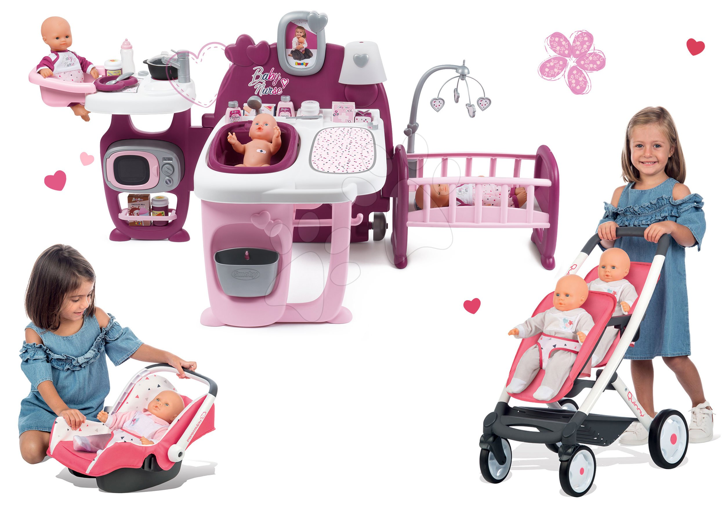 Smoby set domeček pro panenku Baby Nurse Doll´s Play Center a kočárek Trio Pastel s autosedačkou 220327-7