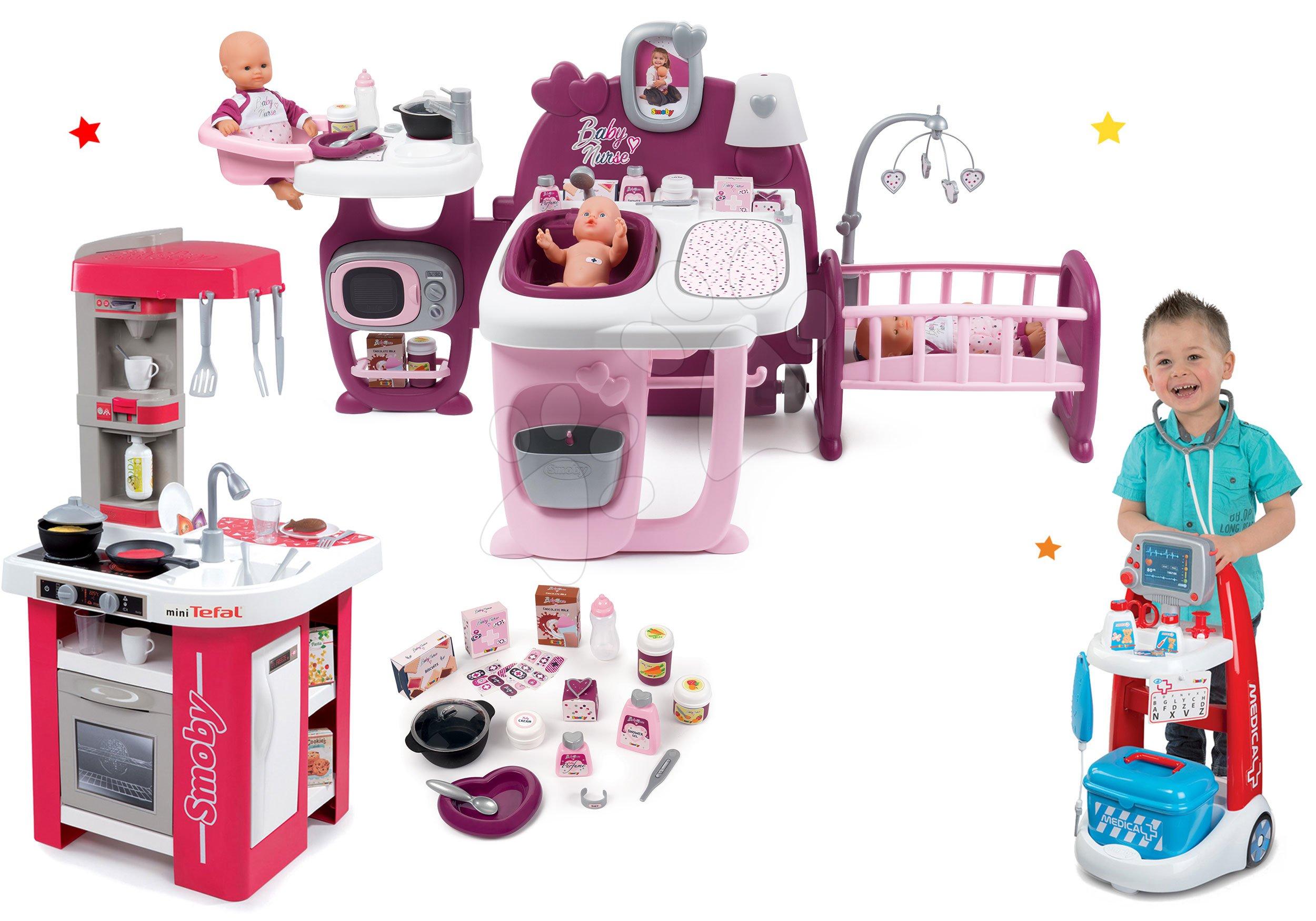 Set domeček pro panenku Violette Baby Nurse Large Doll's Play Center Smoby a kuchyňka Tefal Studio elektronická a lékařský vozík se zvukem
