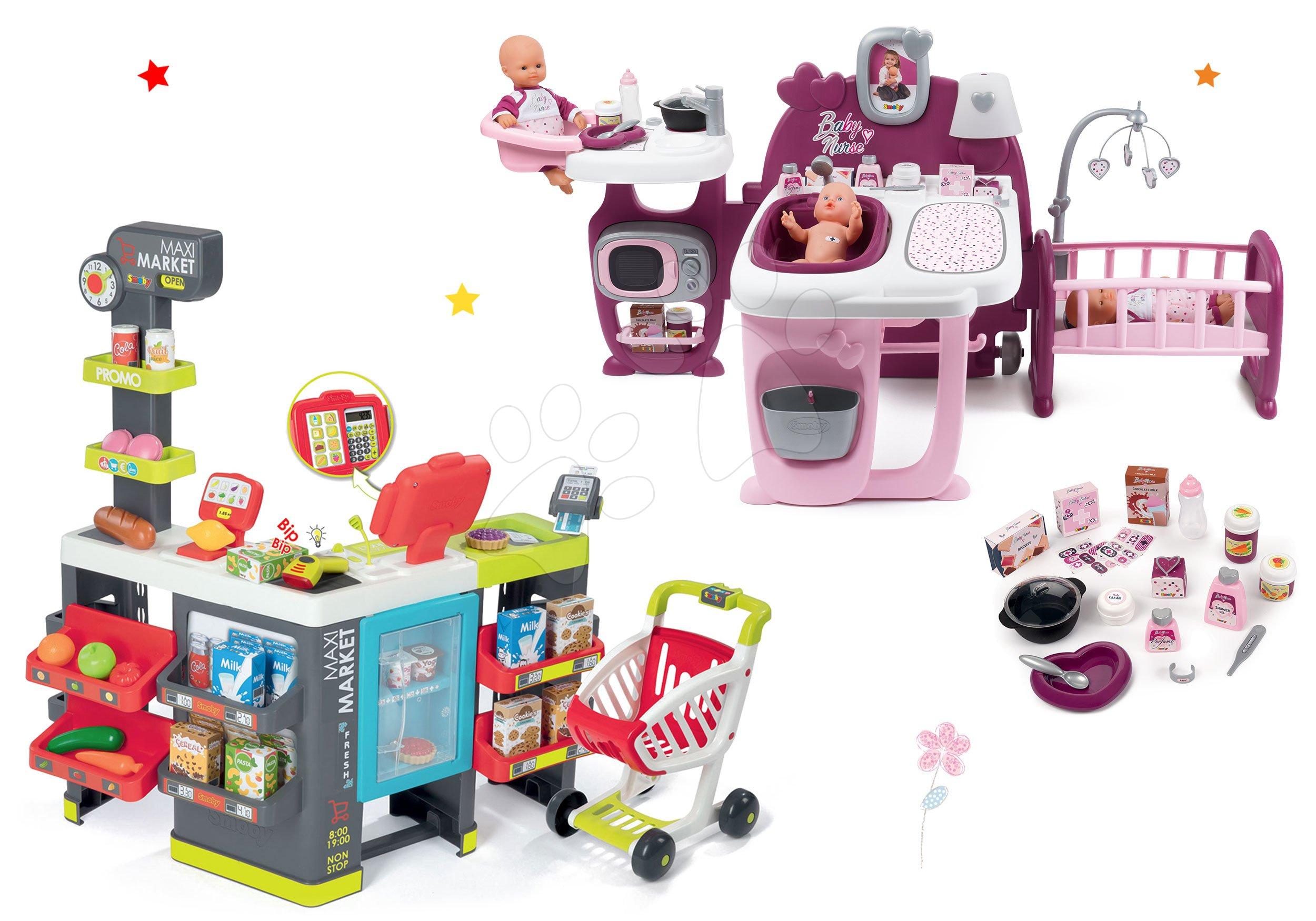 Smoby set domeček pro panenku Baby Nurse Doll´s Play Center a elektronický obchod Maxi Market 220327-9
