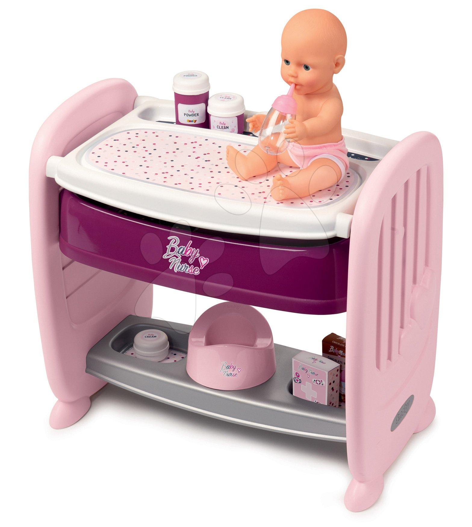 Postýlka k posteli s přebalovacím pultem Violette Baby Nurse 2v1 Smoby 3 pozice s čurající panenkou a 8 doplňky od 24 měsíců